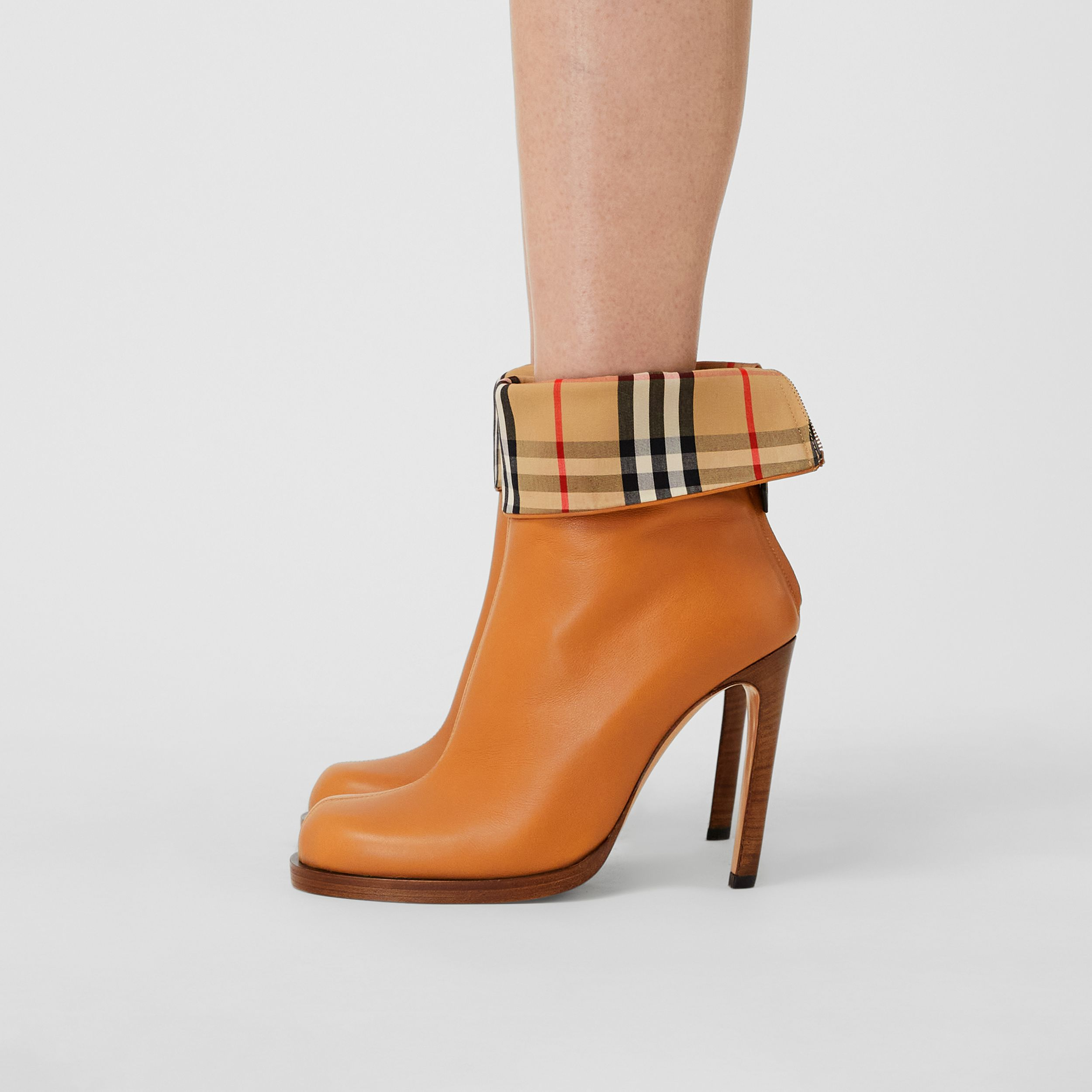 Vintage Check-lined Leather Ankle Boots in Ochre - Women | Burberry - 3