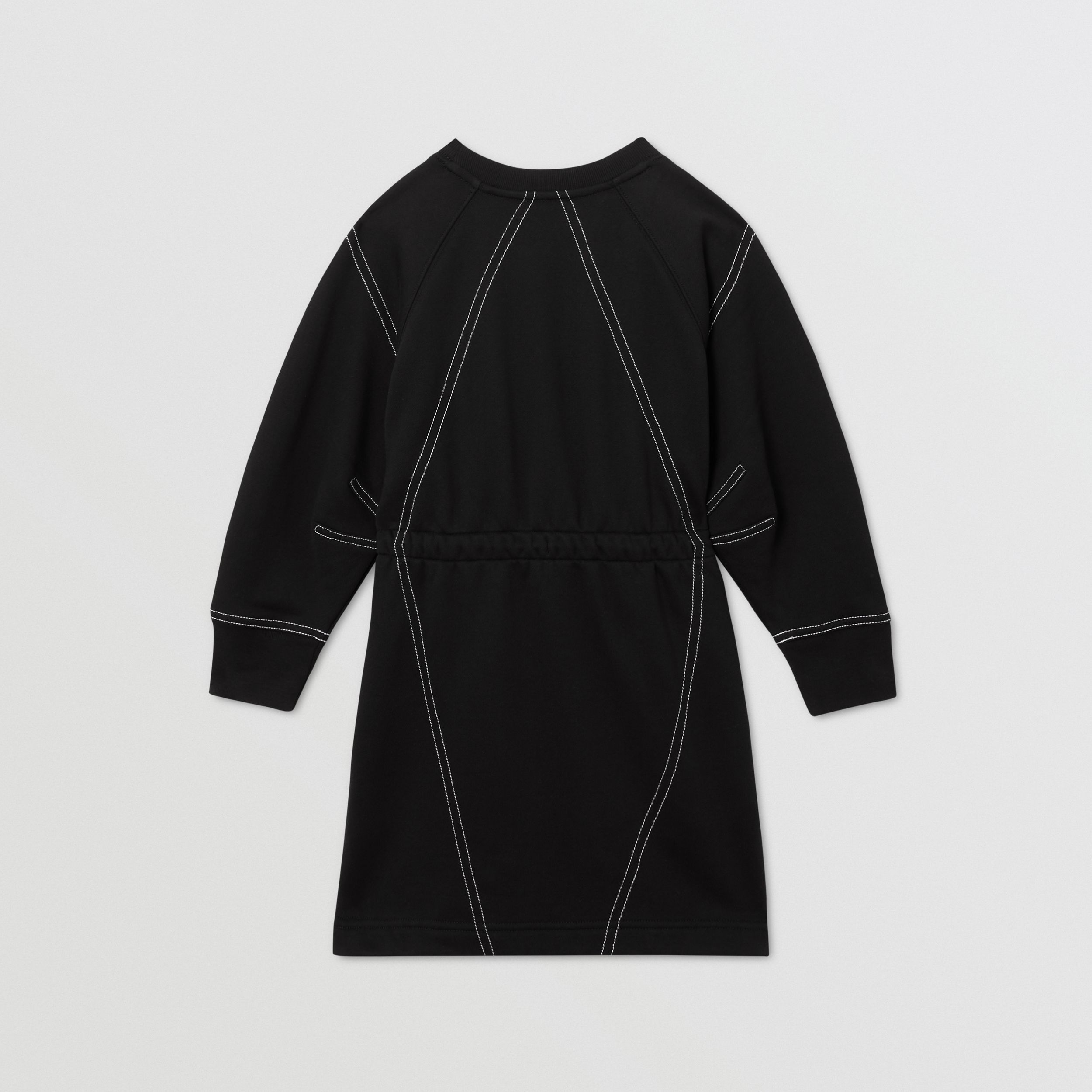 Long-sleeve Logo Print Cotton Dress in Black | Burberry - 4