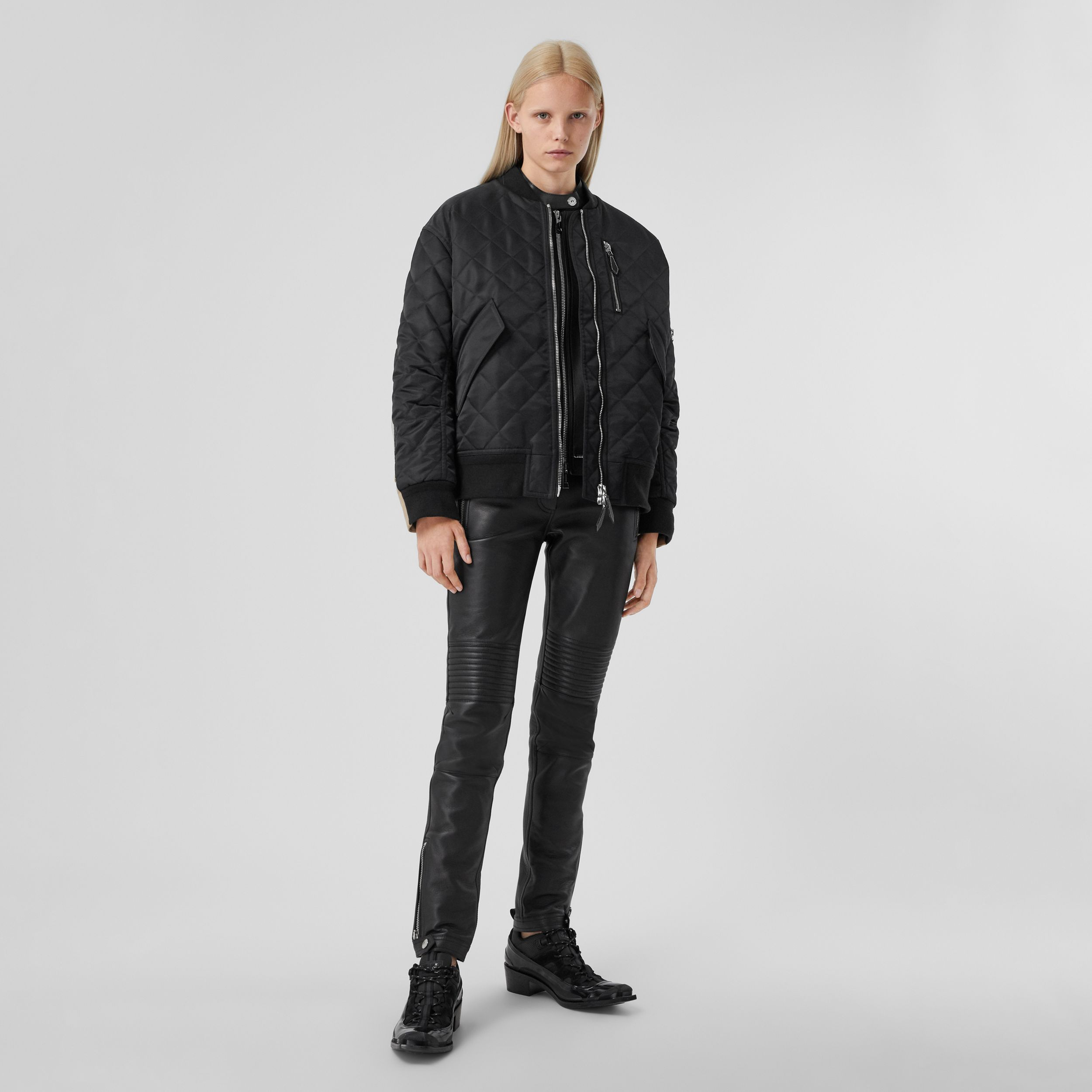 Diamond Quilted Nylon and Cotton Bomber Jacket in Black | Burberry - 1