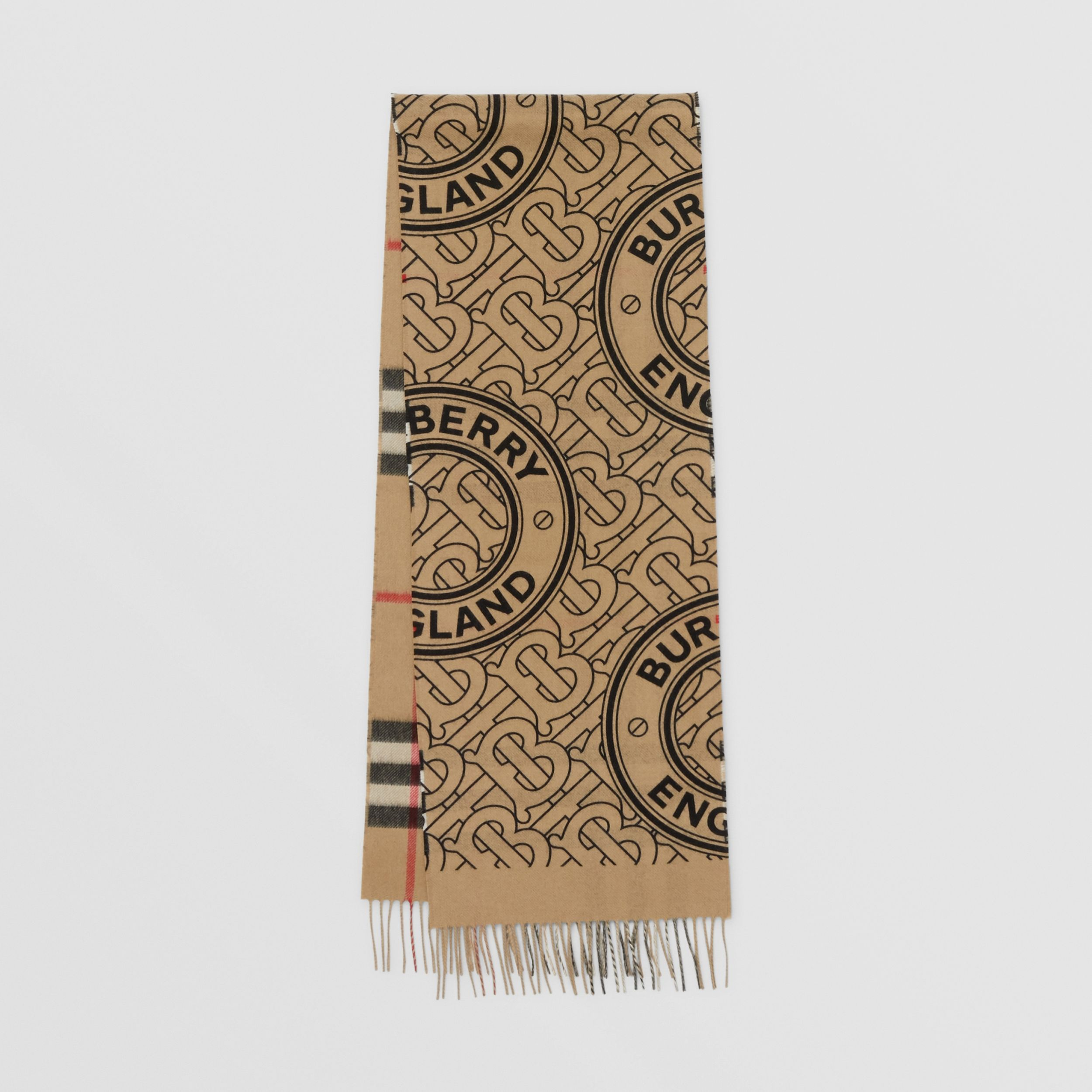Reversible Check and Monogram Cashmere Scarf in Archive Beige | Burberry - 1