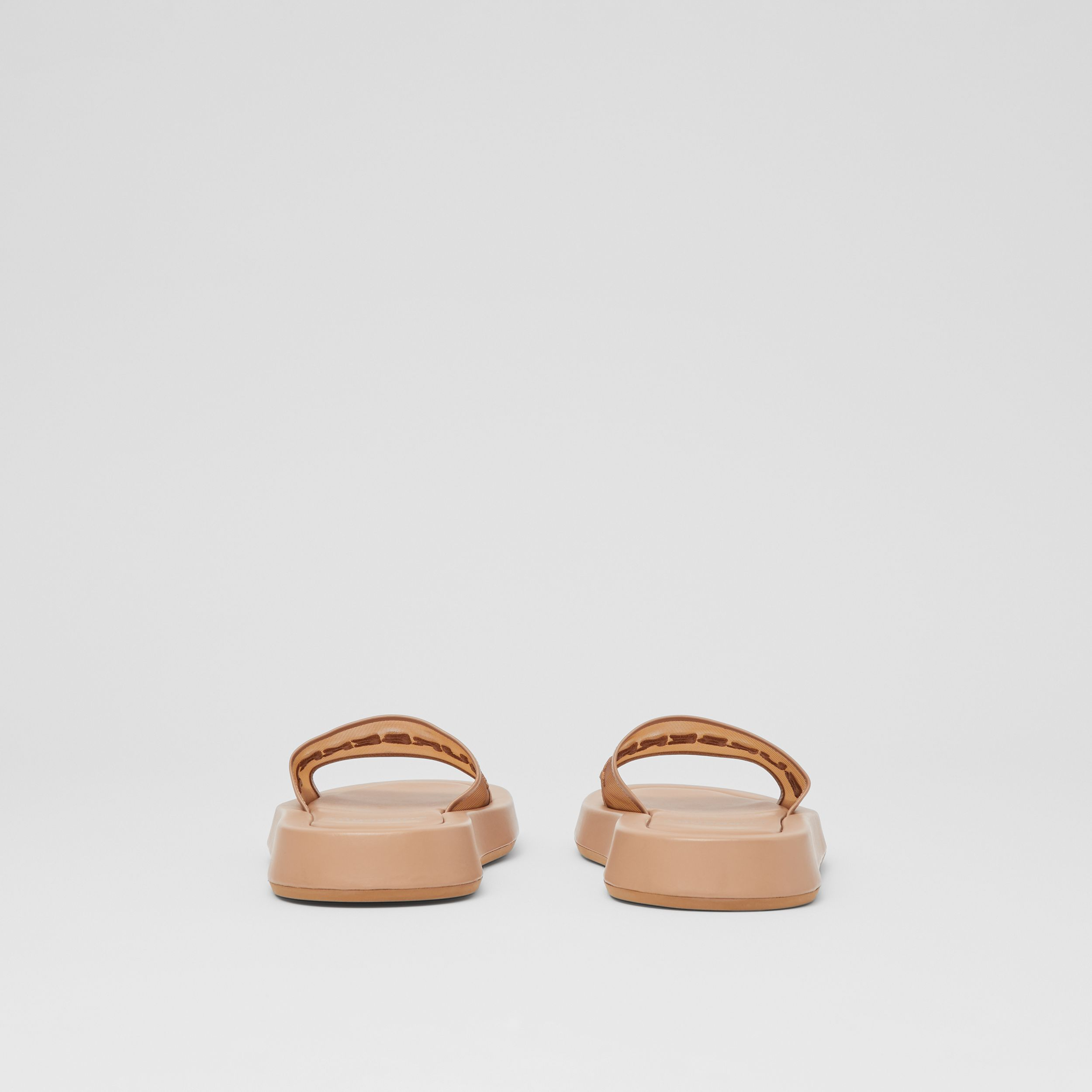 Embroidered Logo Mesh and Leather Slides in Camel - Women | Burberry - 4