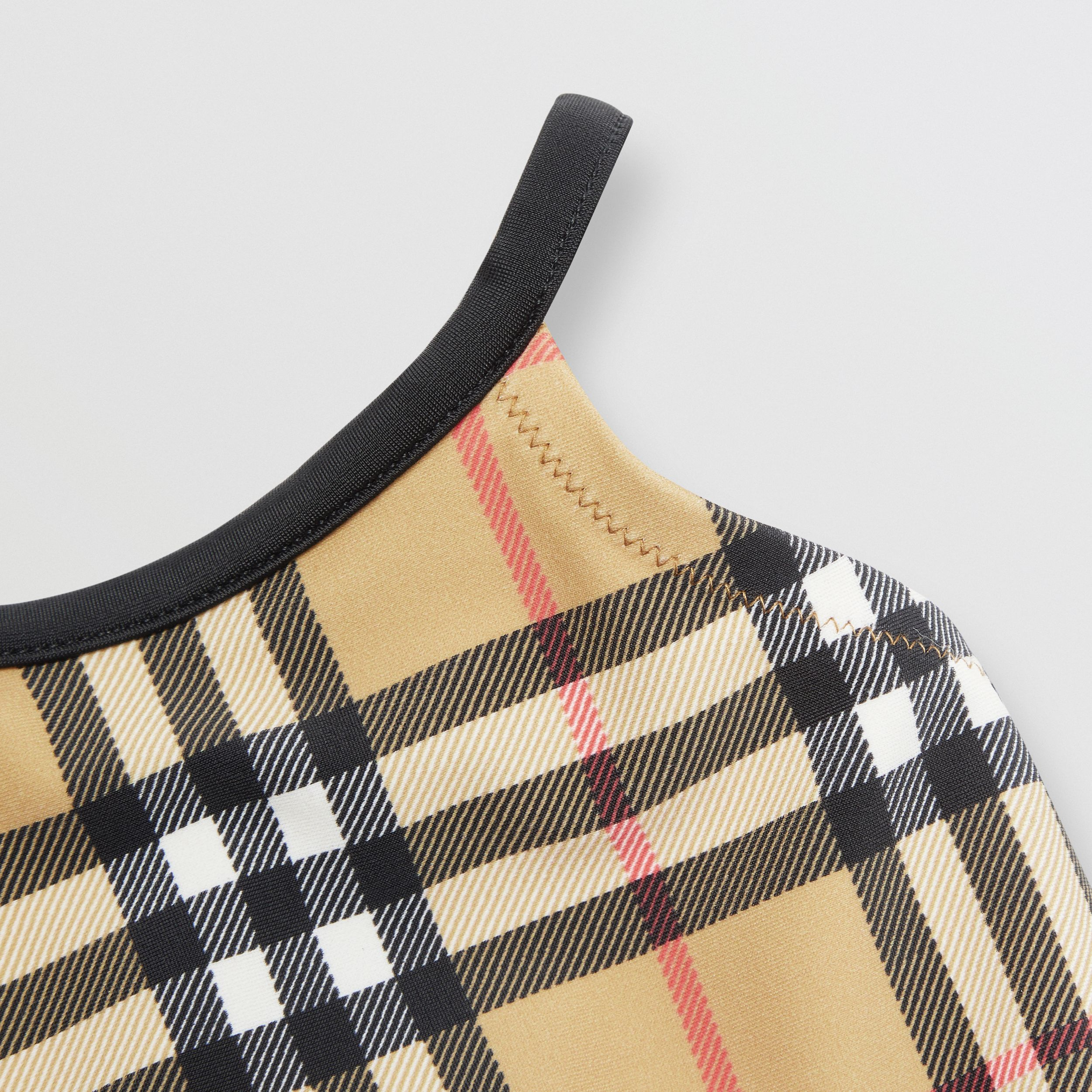 Vintage Check Recycled Nylon Swimsuit in Archive Beige - Children | Burberry - 2