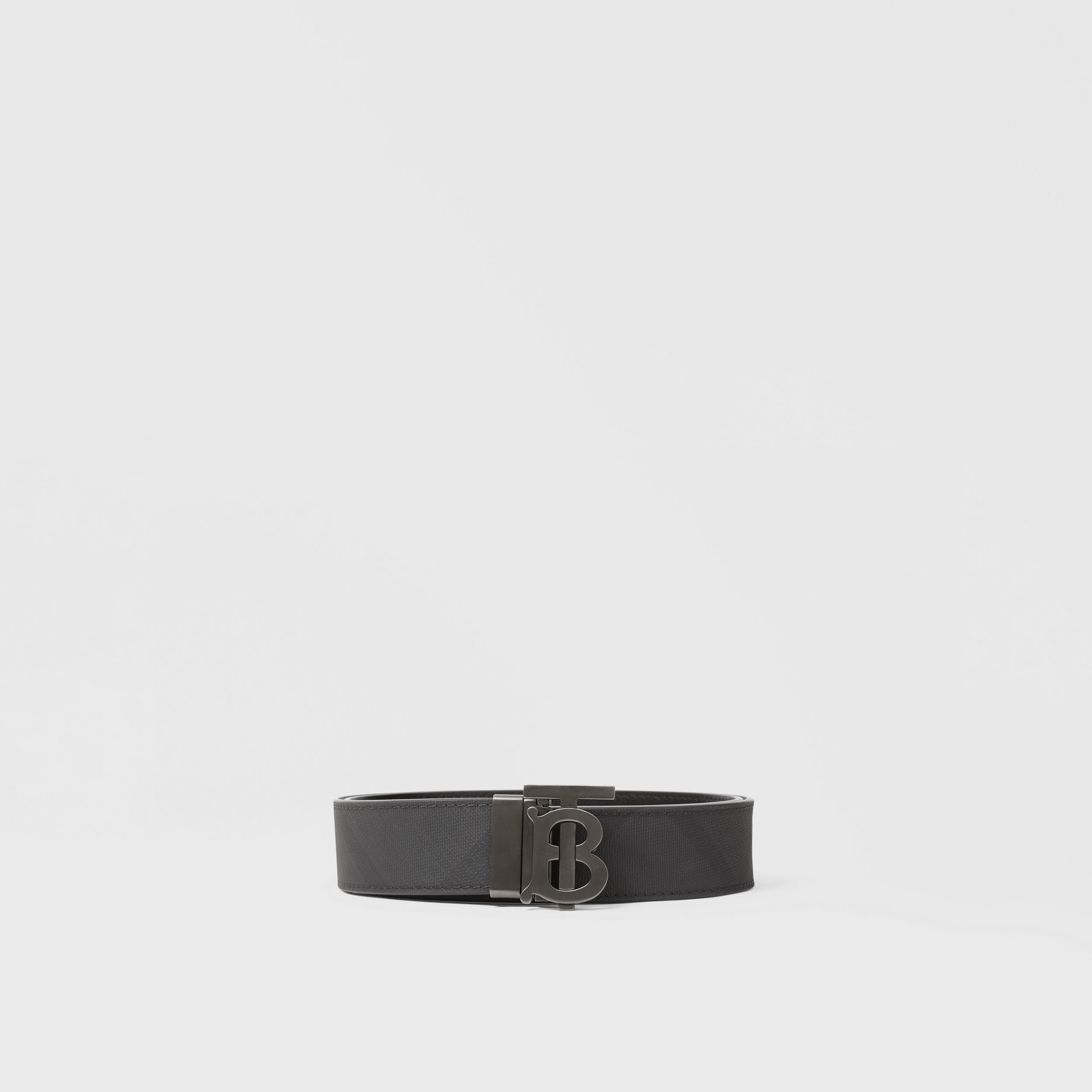 Reversible Monogram Motif London Check Belt in Dark Charcoal - Men | Burberry Australia - 4