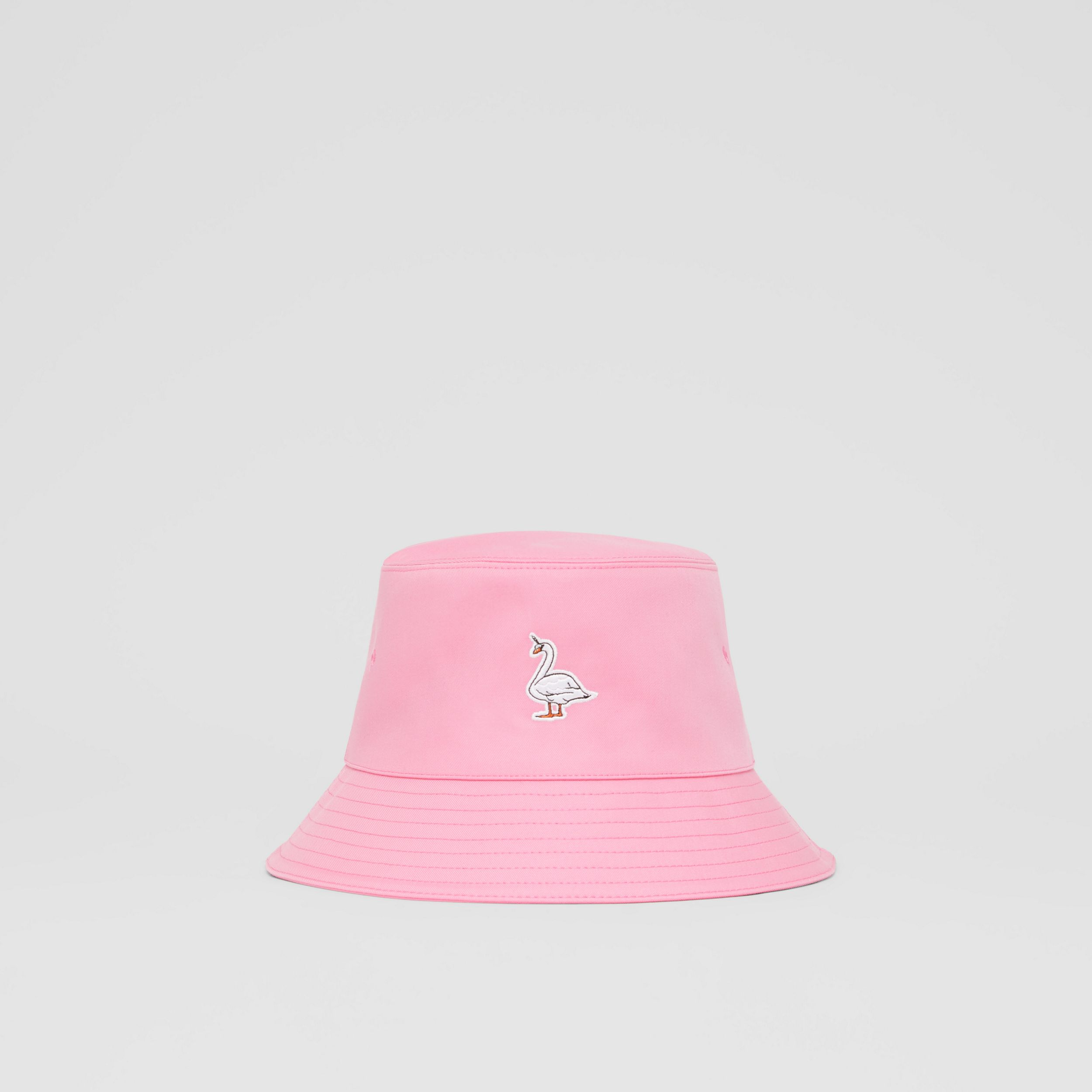 Swan Appliqué Cotton Twill Bucket Hat in Bubblegum Pink | Burberry - 1