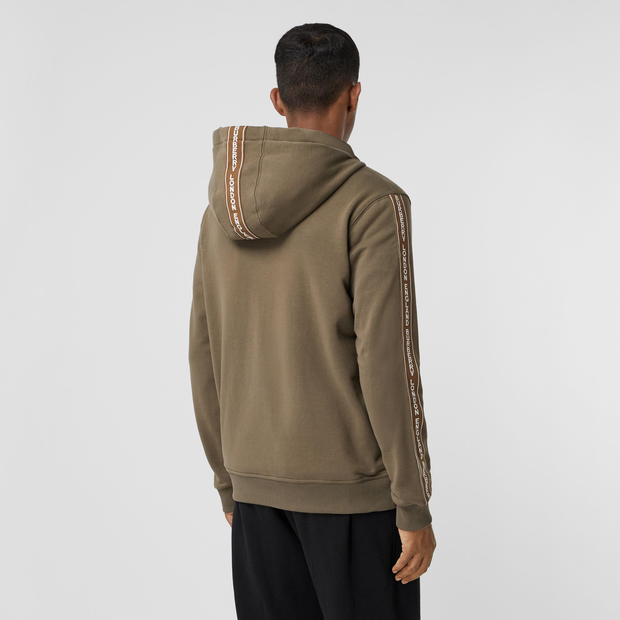 Logo Tape Cotton Hooded Top - Men | Burberry - 3