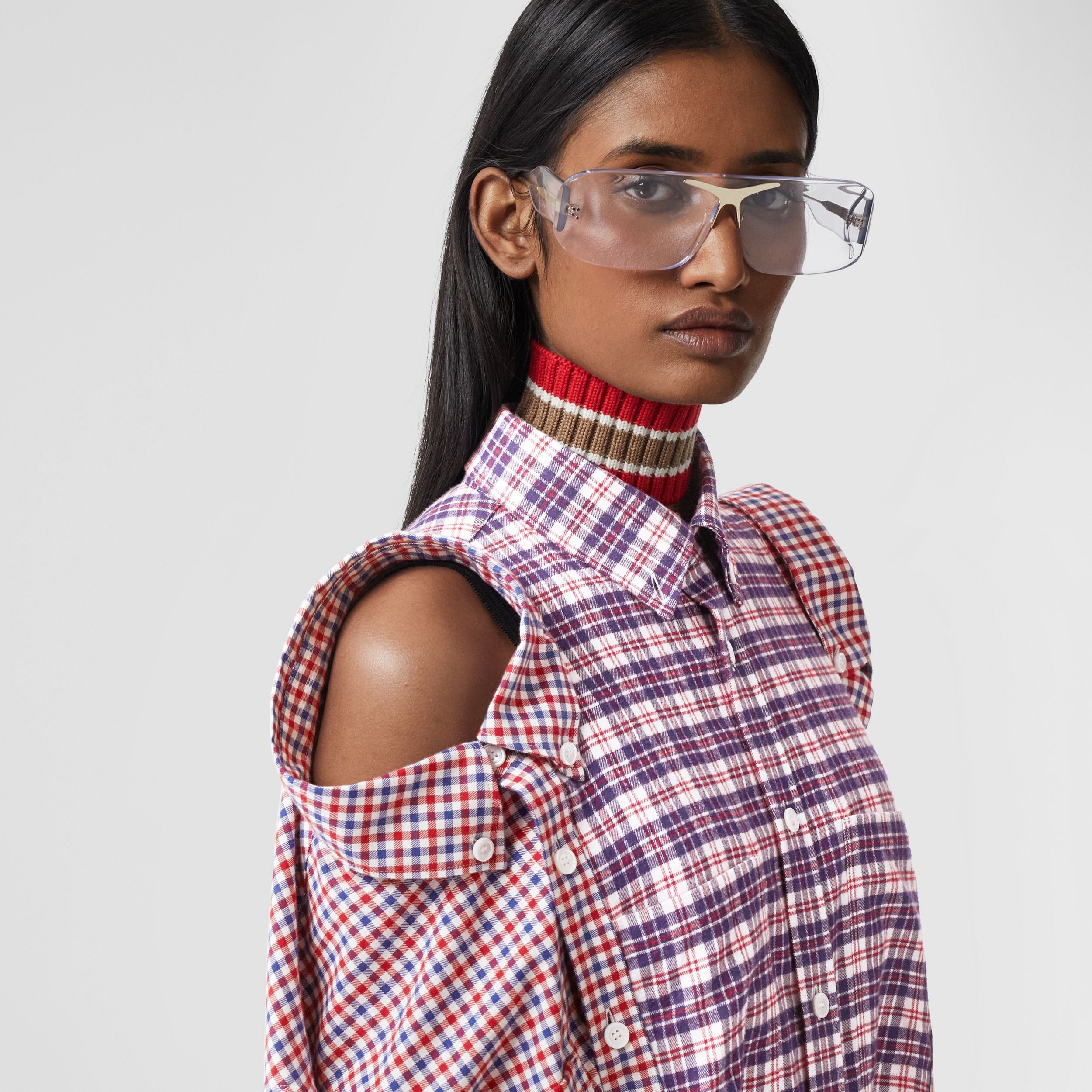 Contrast Check Cotton Reconstructed Shirt Dress in Bright Red - Women | Burberry - 2
