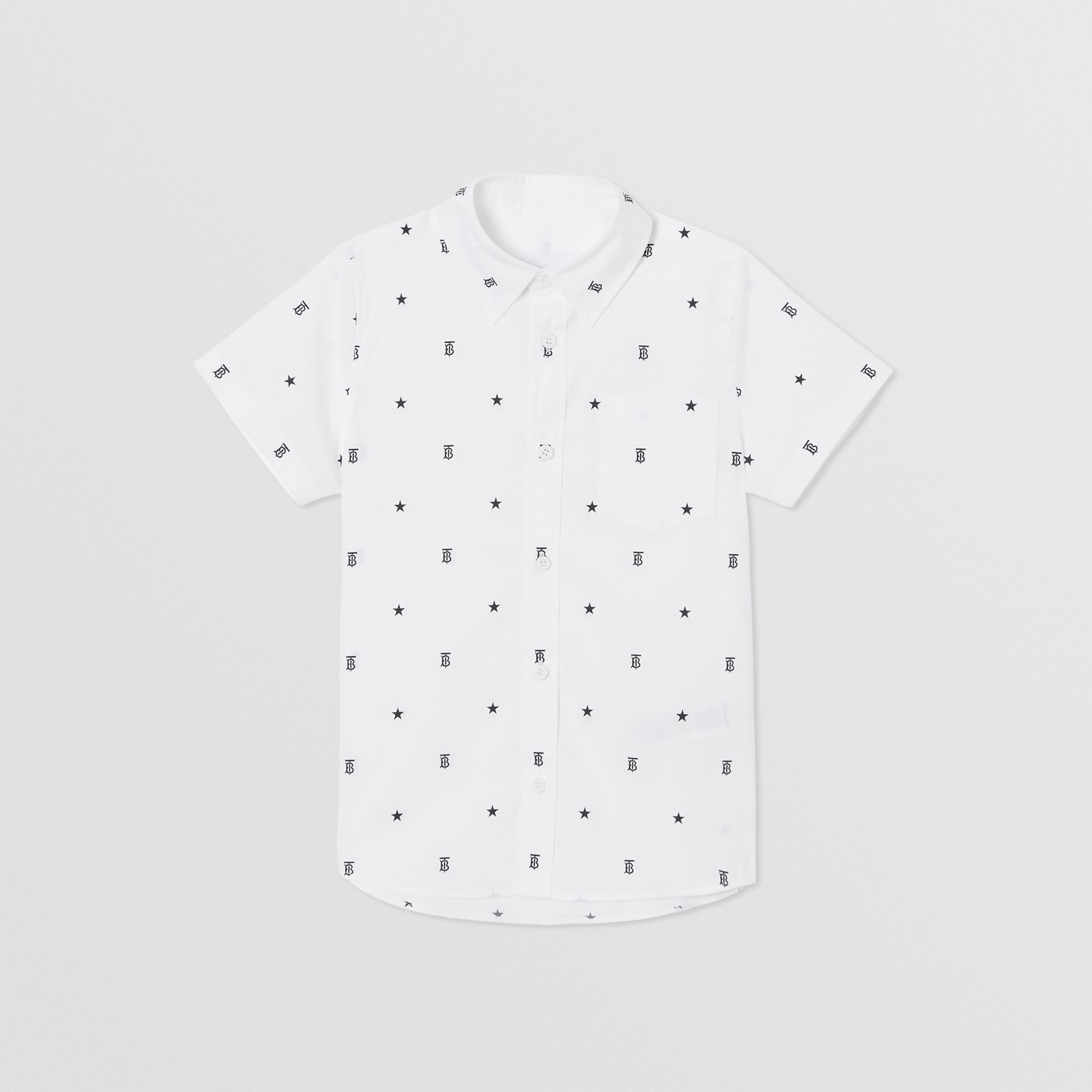 Short-sleeve Star and Monogram Motif Cotton Shirt in White | Burberry - 1