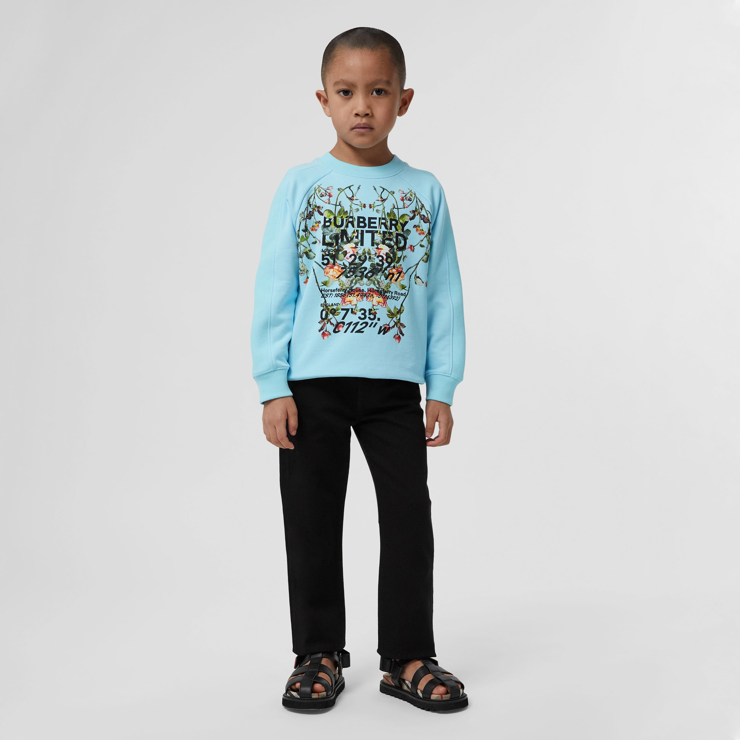 Montage Print Cotton Sweatshirt in Pale Turquoise | Burberry - 3