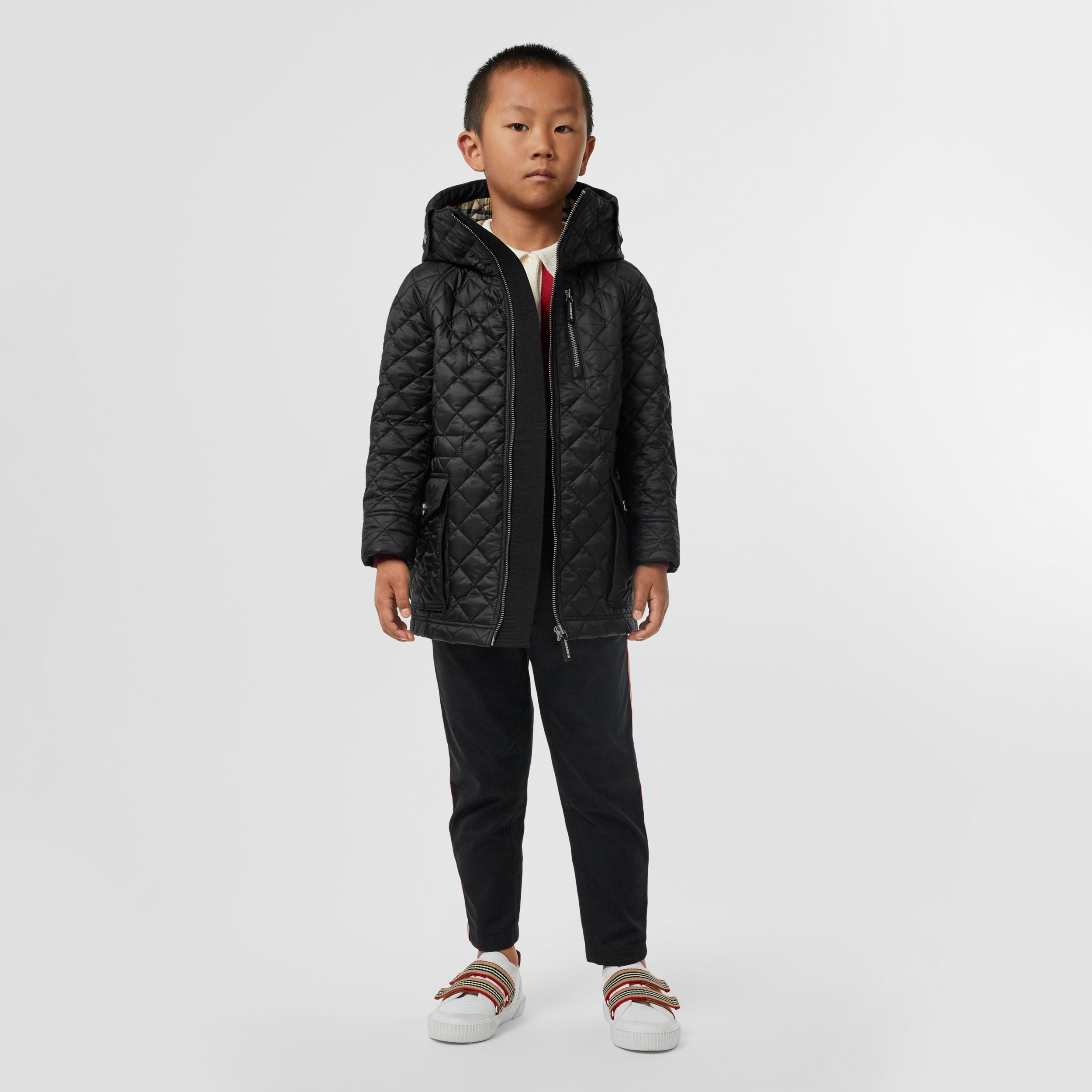 Diamond Quilted Hooded Coat in Black | Burberry - 3