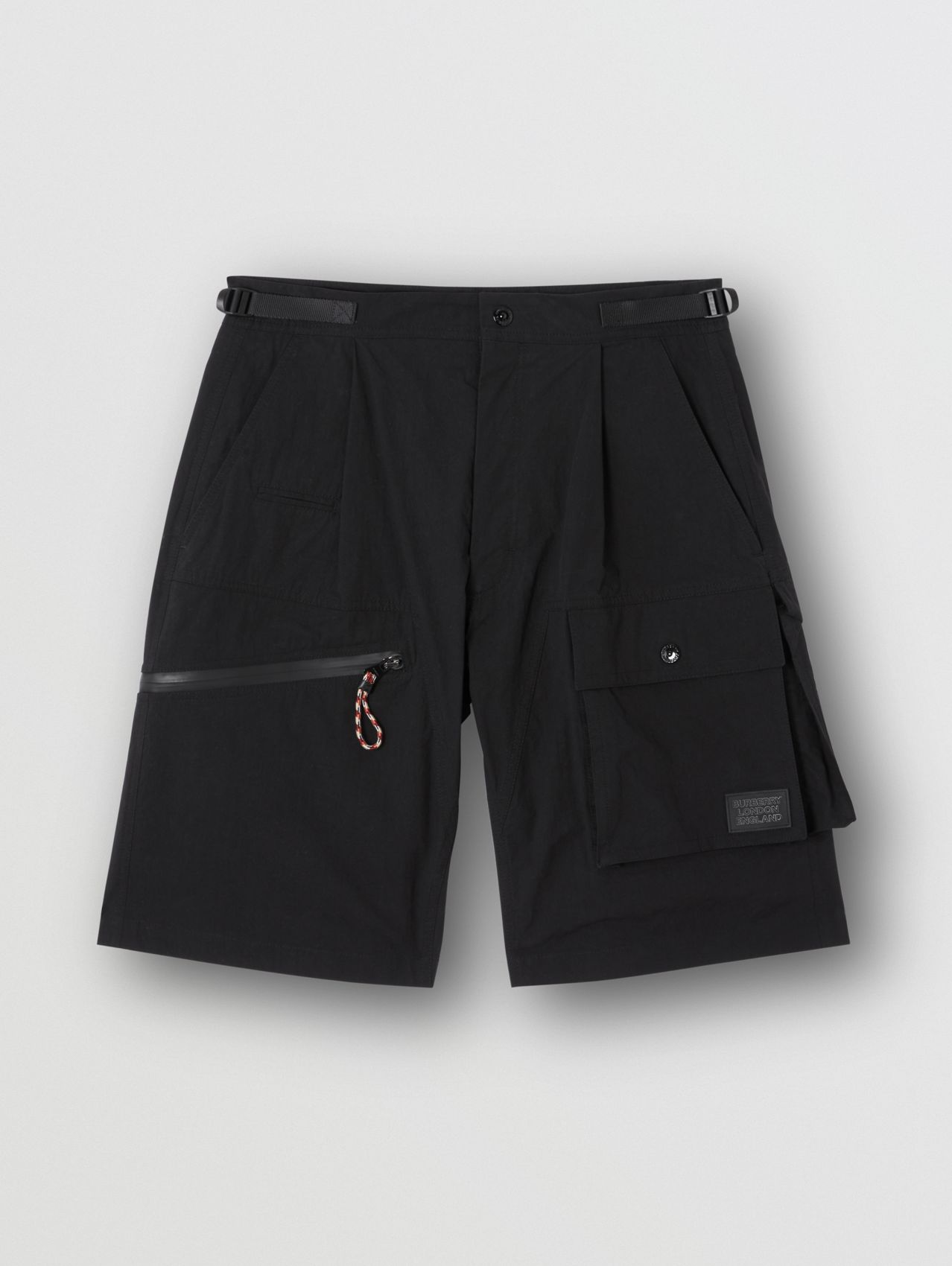Logo Appliqué Cotton Blend Cargo Shorts in Black