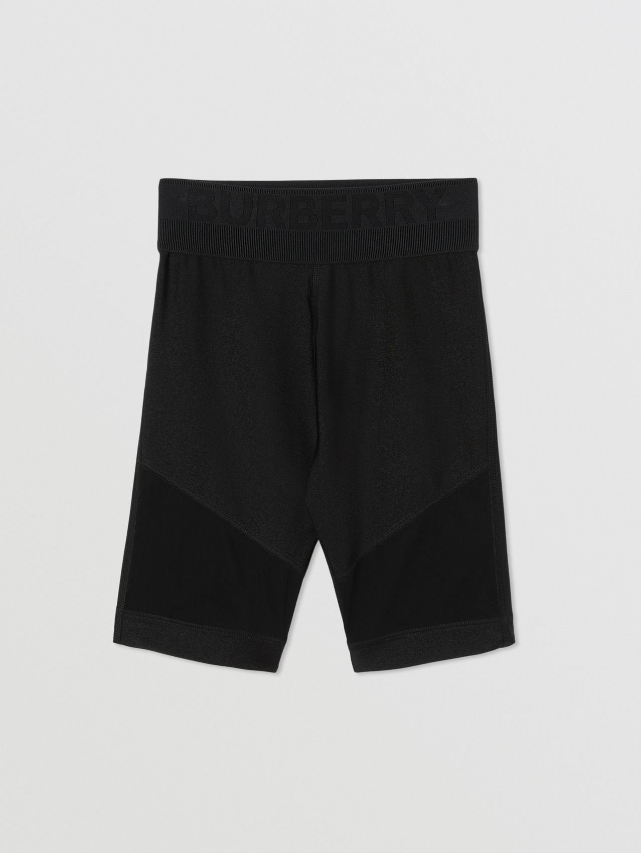 Mesh Panel Stretch Jersey Cycling Shorts in Black