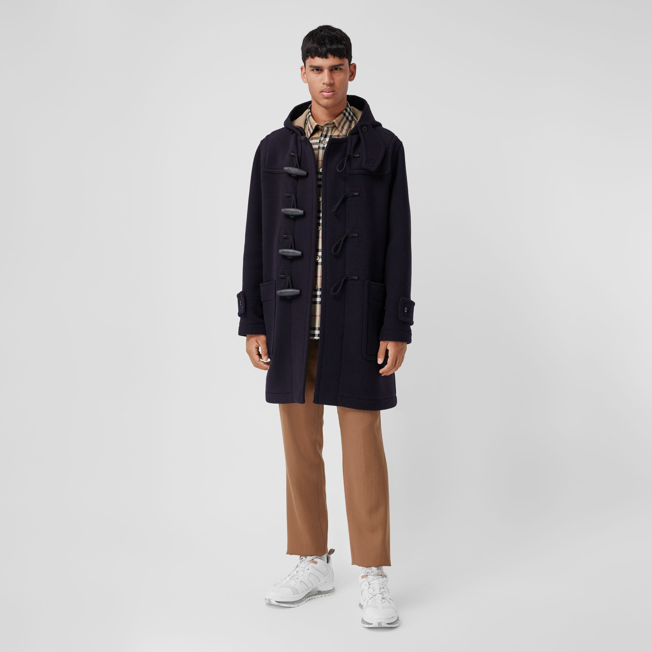 Check-lined Technical Wool Duffle Coat in Navy - Men | Burberry - 1