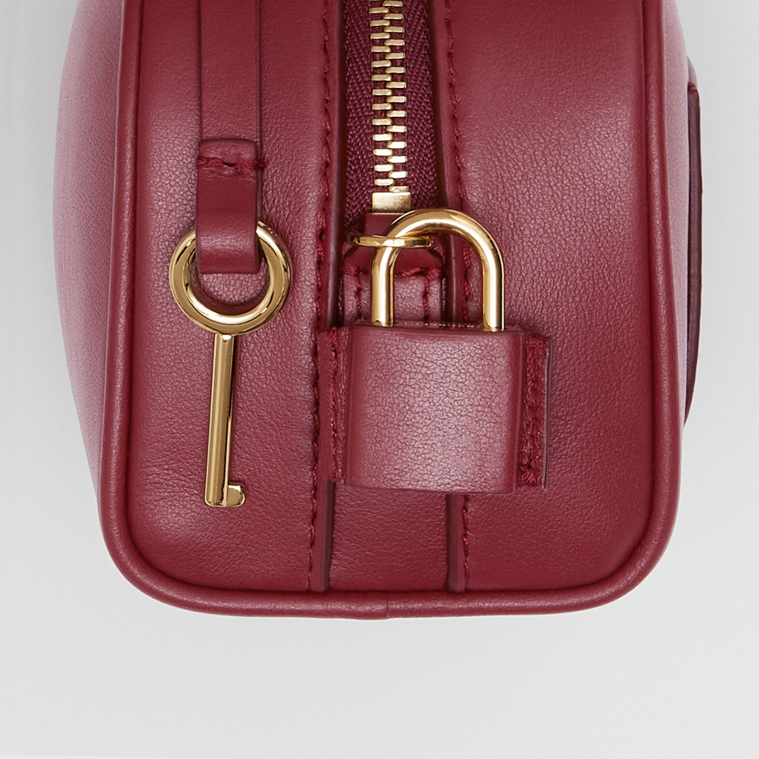 Micro Leather Cube Bag in Dark Crimson | Burberry Australia - 2