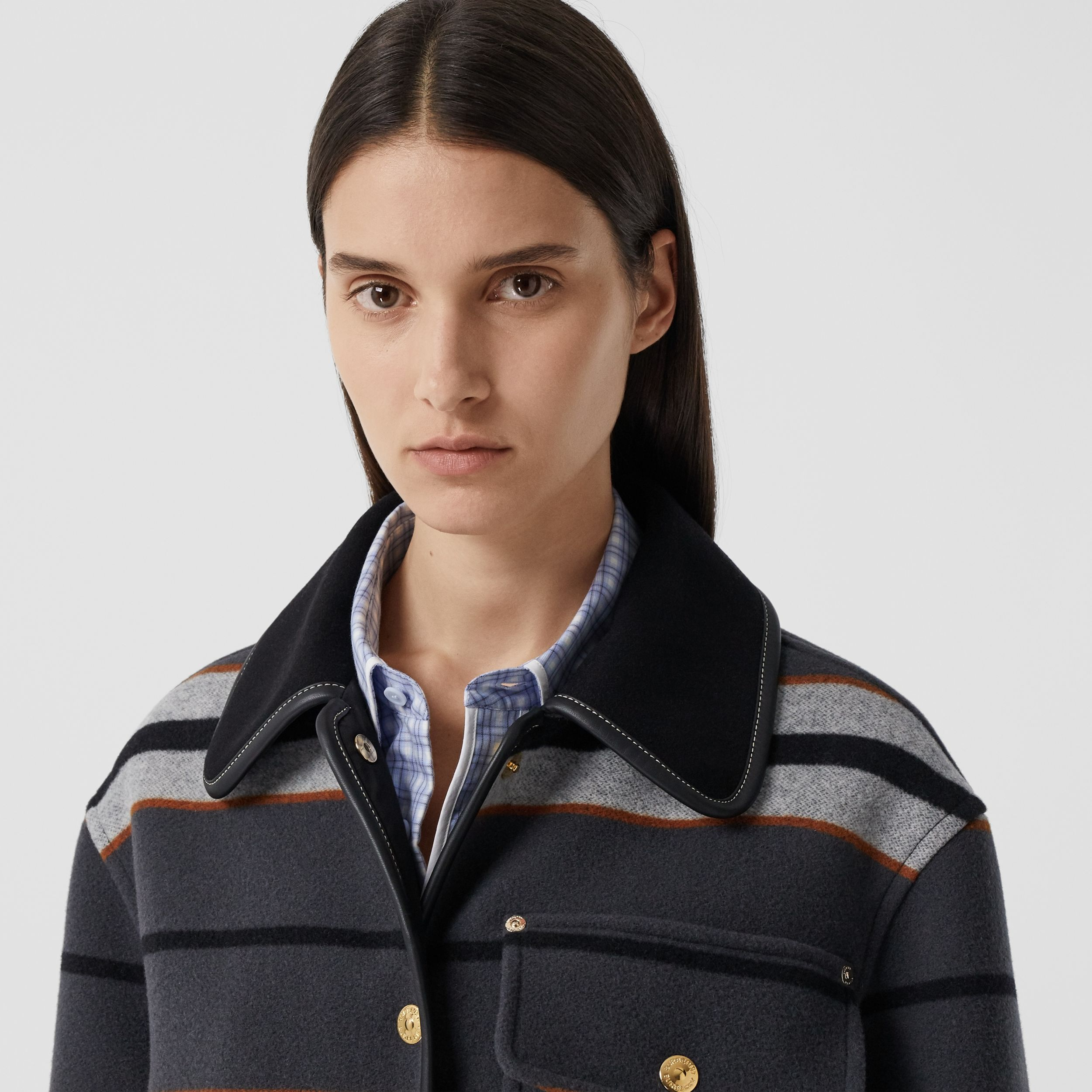 Lambskin Trim Stripe Intarsia Wool Barn Jacket in Mid Grey - Women | Burberry Hong Kong S.A.R. - 2