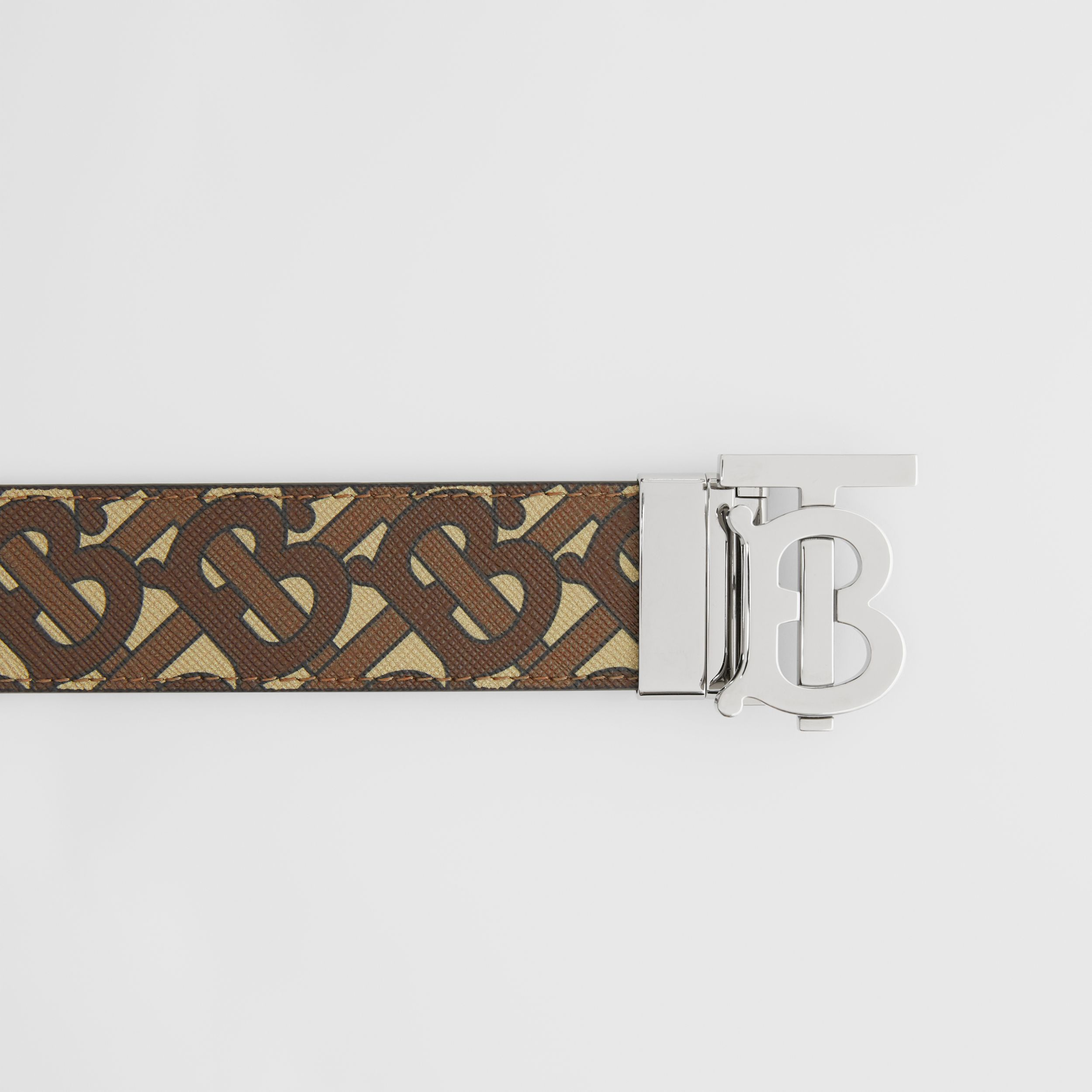 Reversible Monogram Motif E-canvas and Leather Belt in Bridle Brown/tan - Men | Burberry Australia - 2