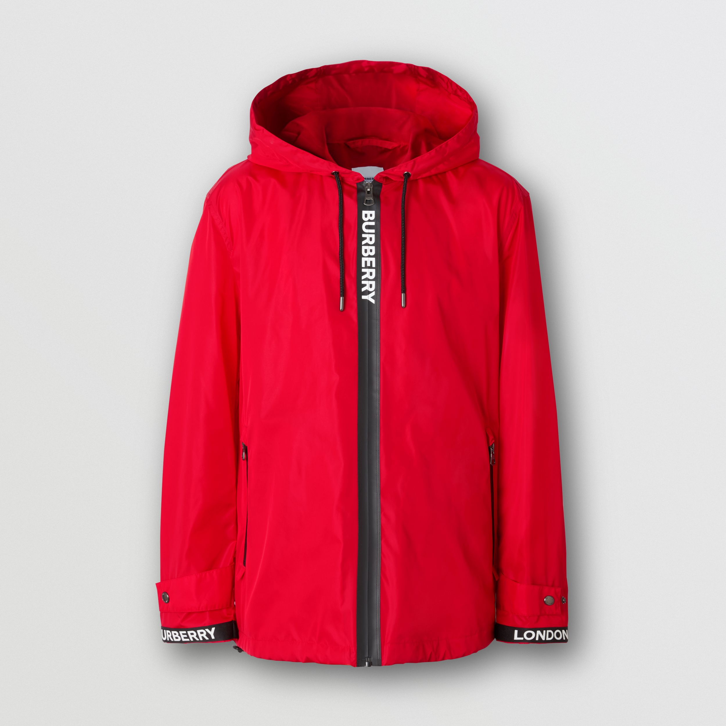 Logo Tape ECONYL® Hooded Jacket in Bright Red - Men | Burberry - 4