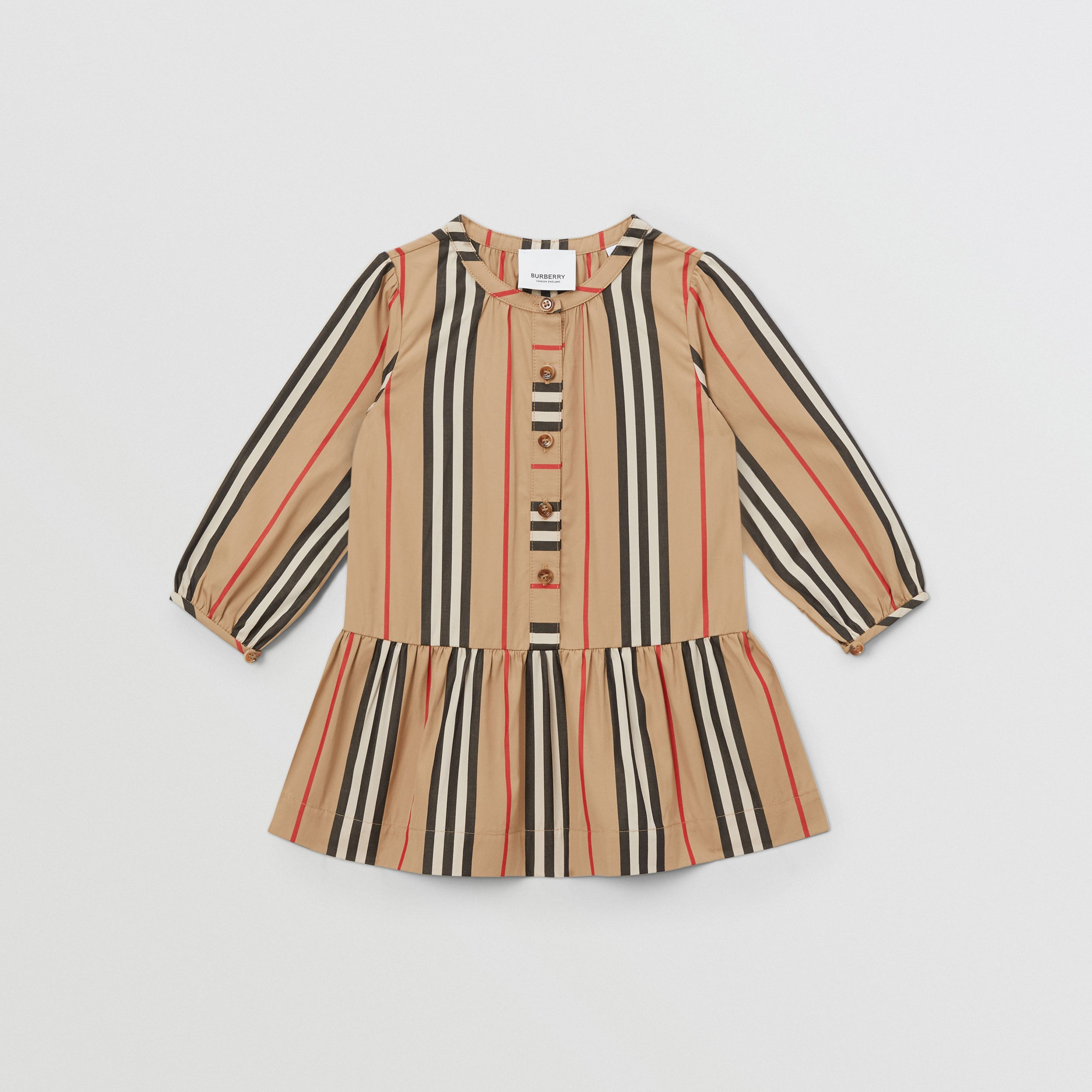Icon Stripe Gathered Cotton Poplin Dress - Children | Burberry United Kingdom - 1
