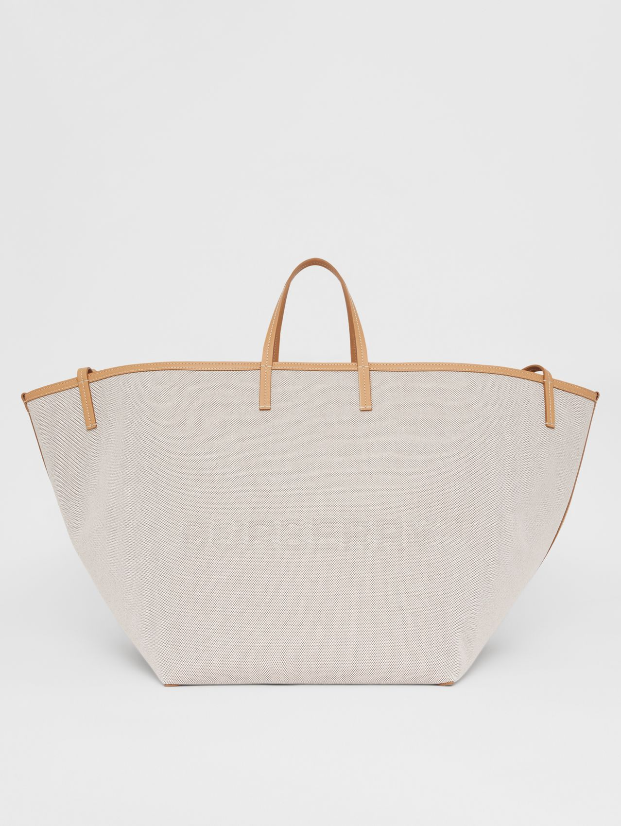 Extra Large Embossed Logo Cotton Canvas Beach Tote in Soft Fawn/warm Sand