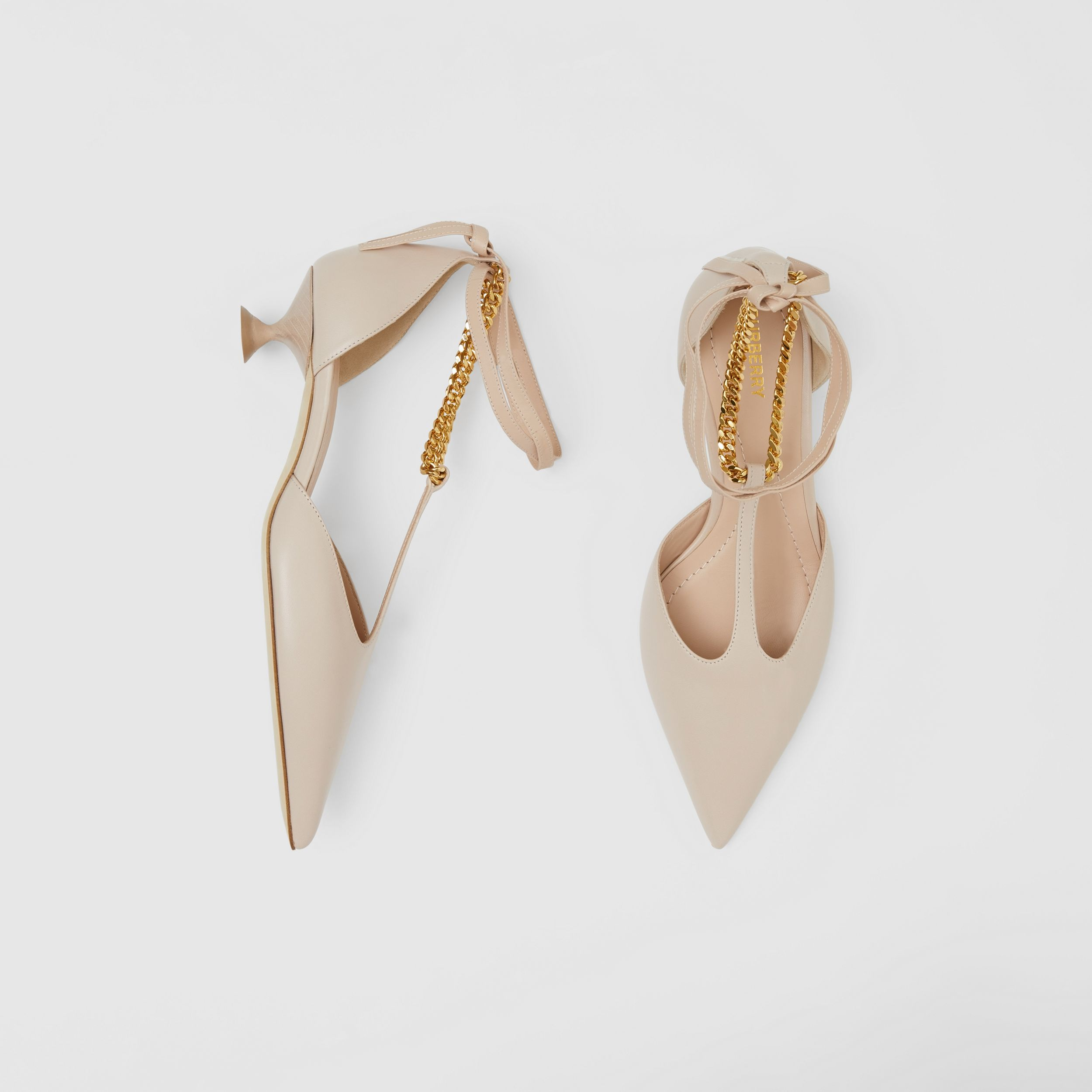 Chain Detail Lambskin Pumps in Nude - Women | Burberry - 1
