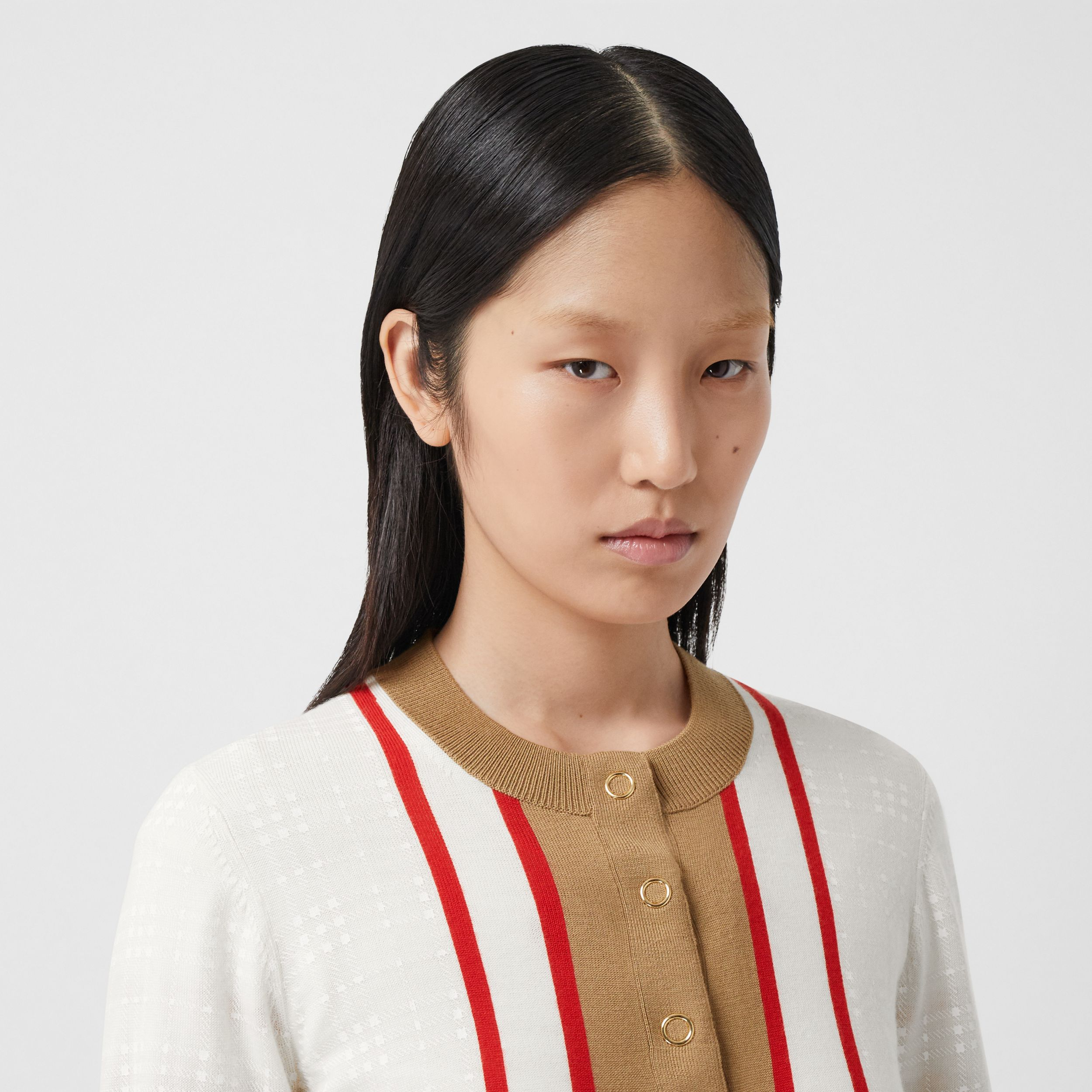 Archive Society Intarsia Wool Cardigan in White - Women | Burberry - 2