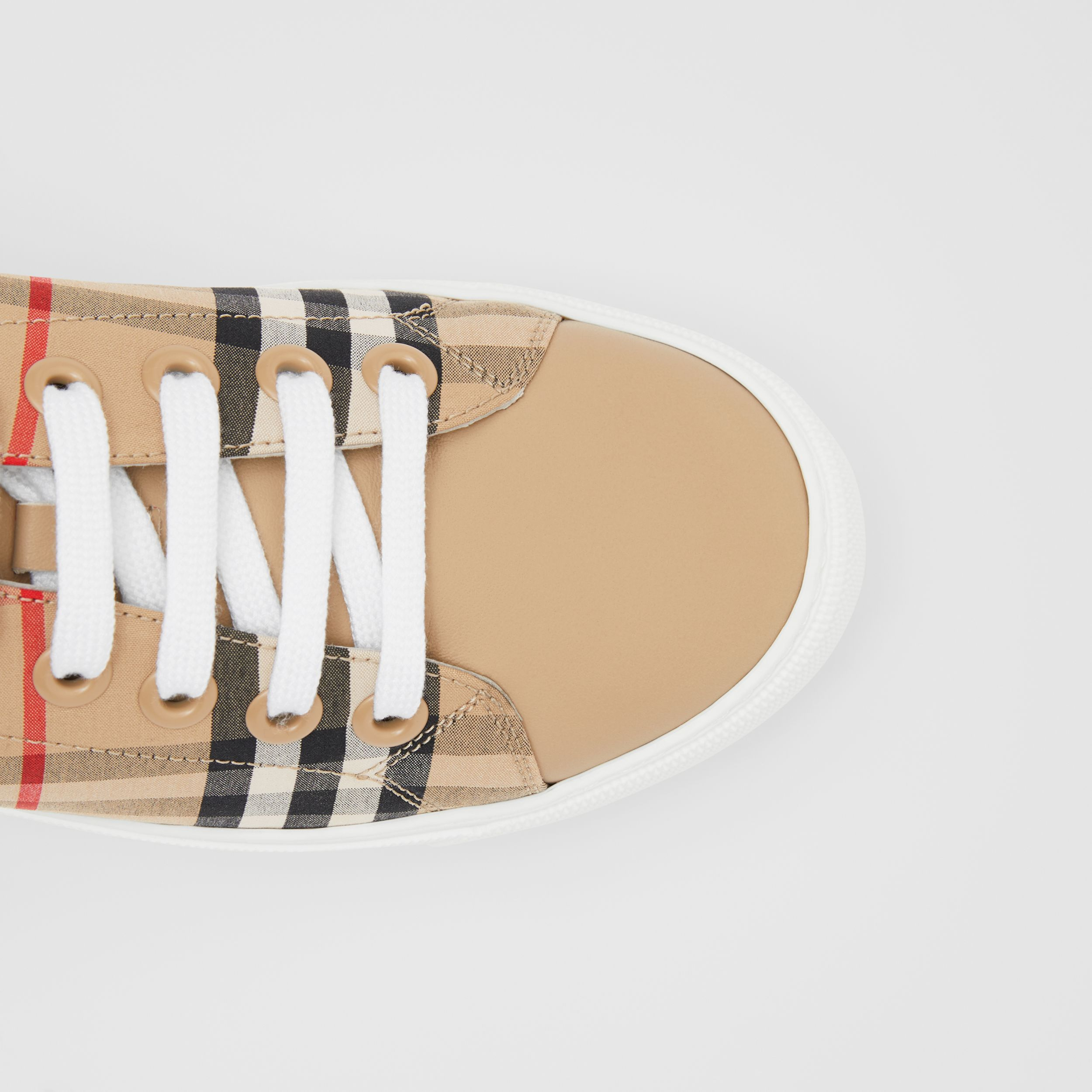 Vintage Check and Leather Sneakers in Archive Beige - Women | Burberry - 2