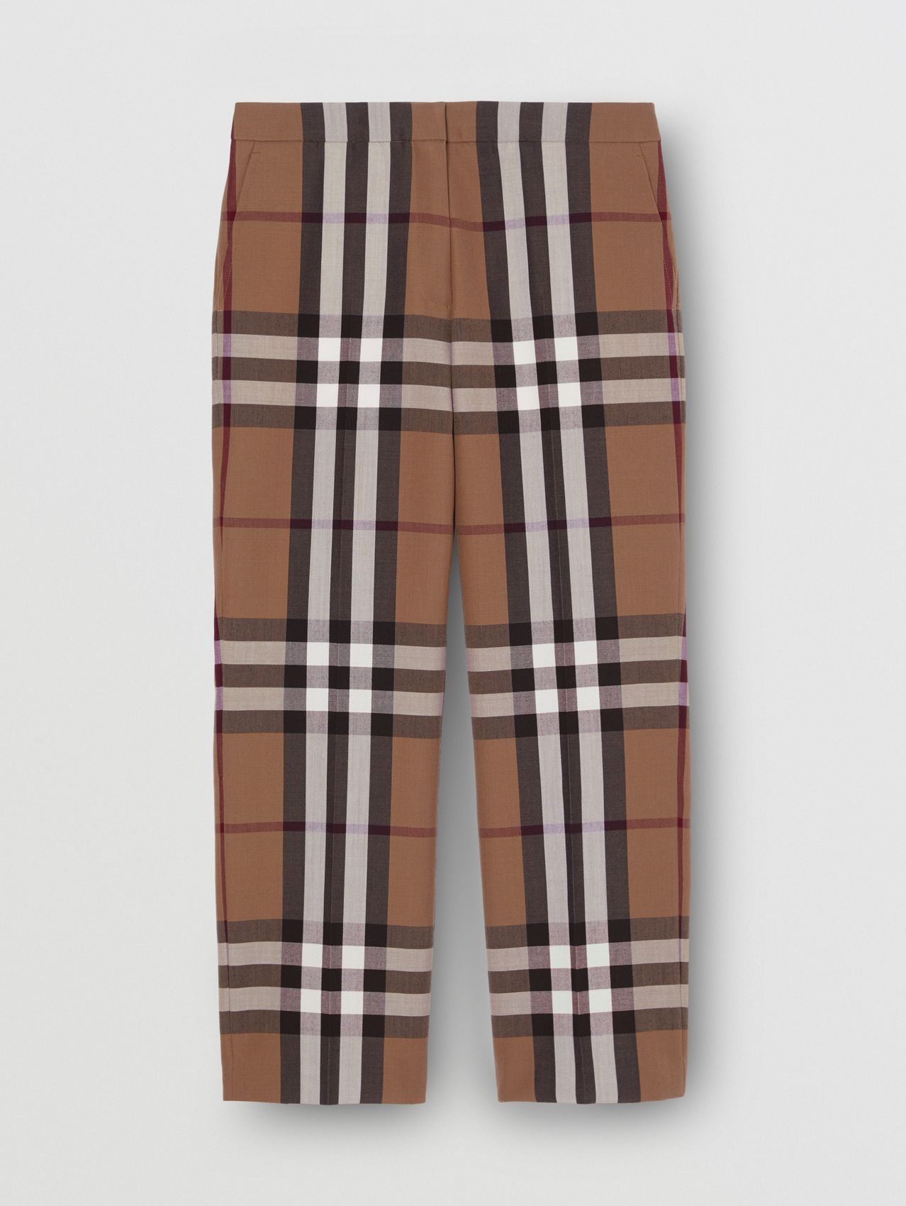 Check Wool Cropped Trousers in Birch Brown