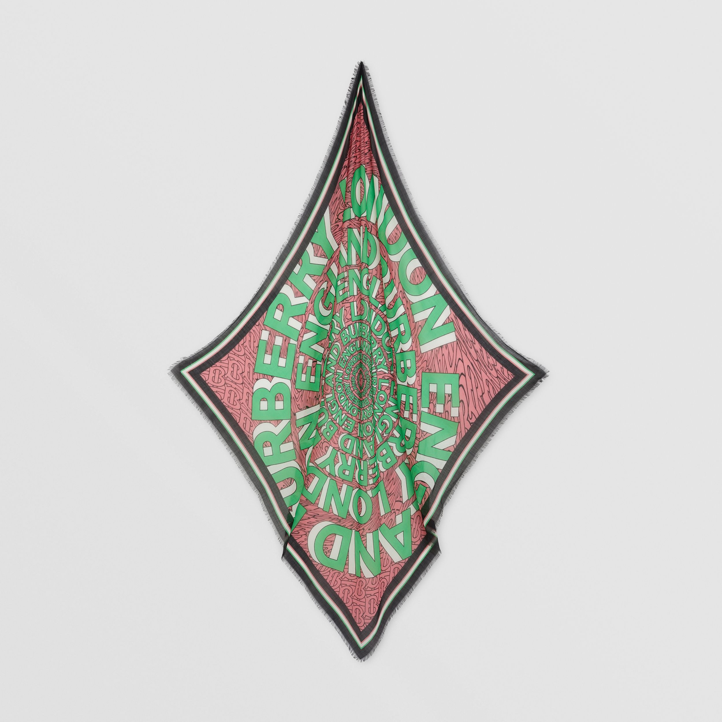 Logo Print Silk Wool Large Square Scarf in Camellia Pink | Burberry - 4