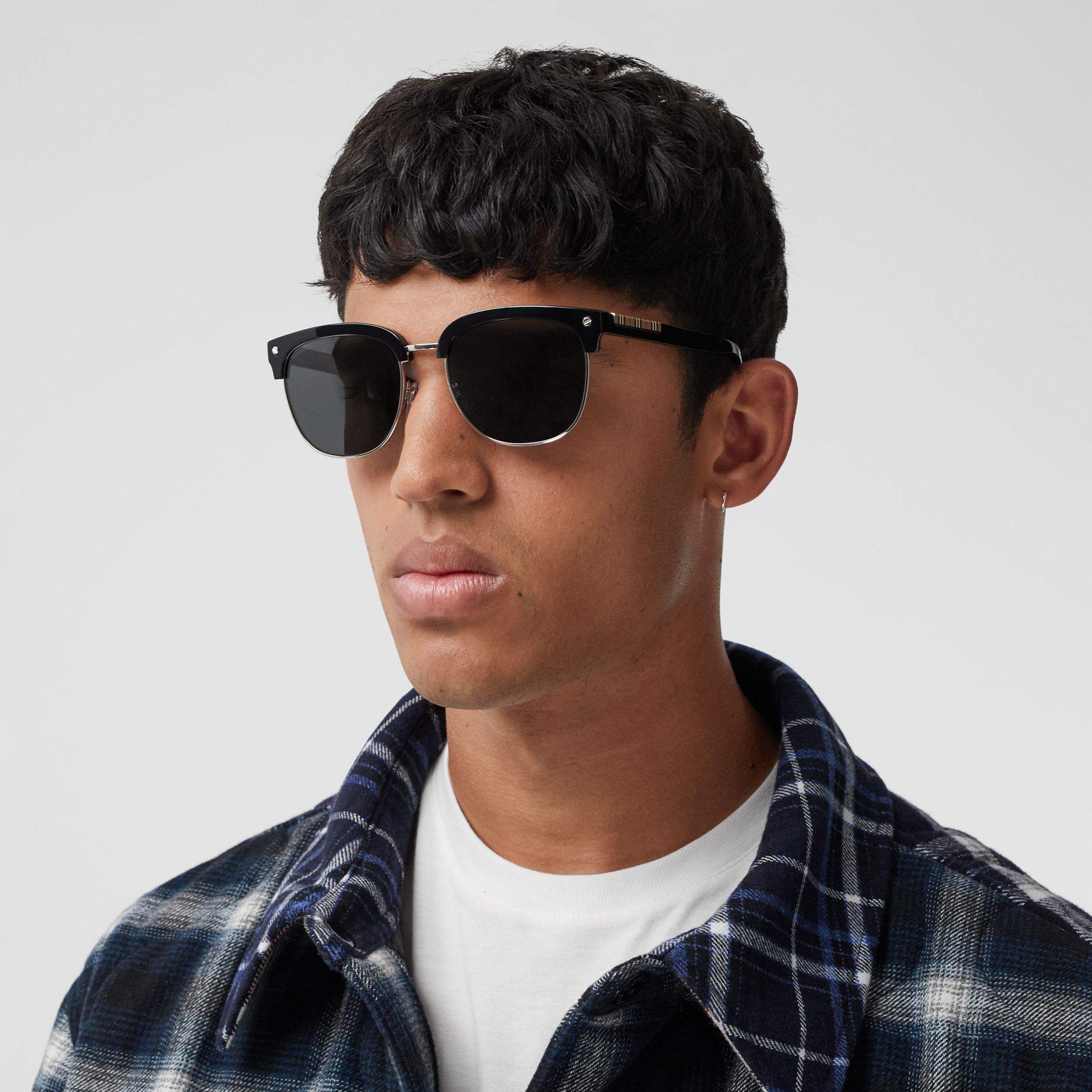 Icon Stripe Detail Square Frame Sunglasses in Black - Men | Burberry - 3