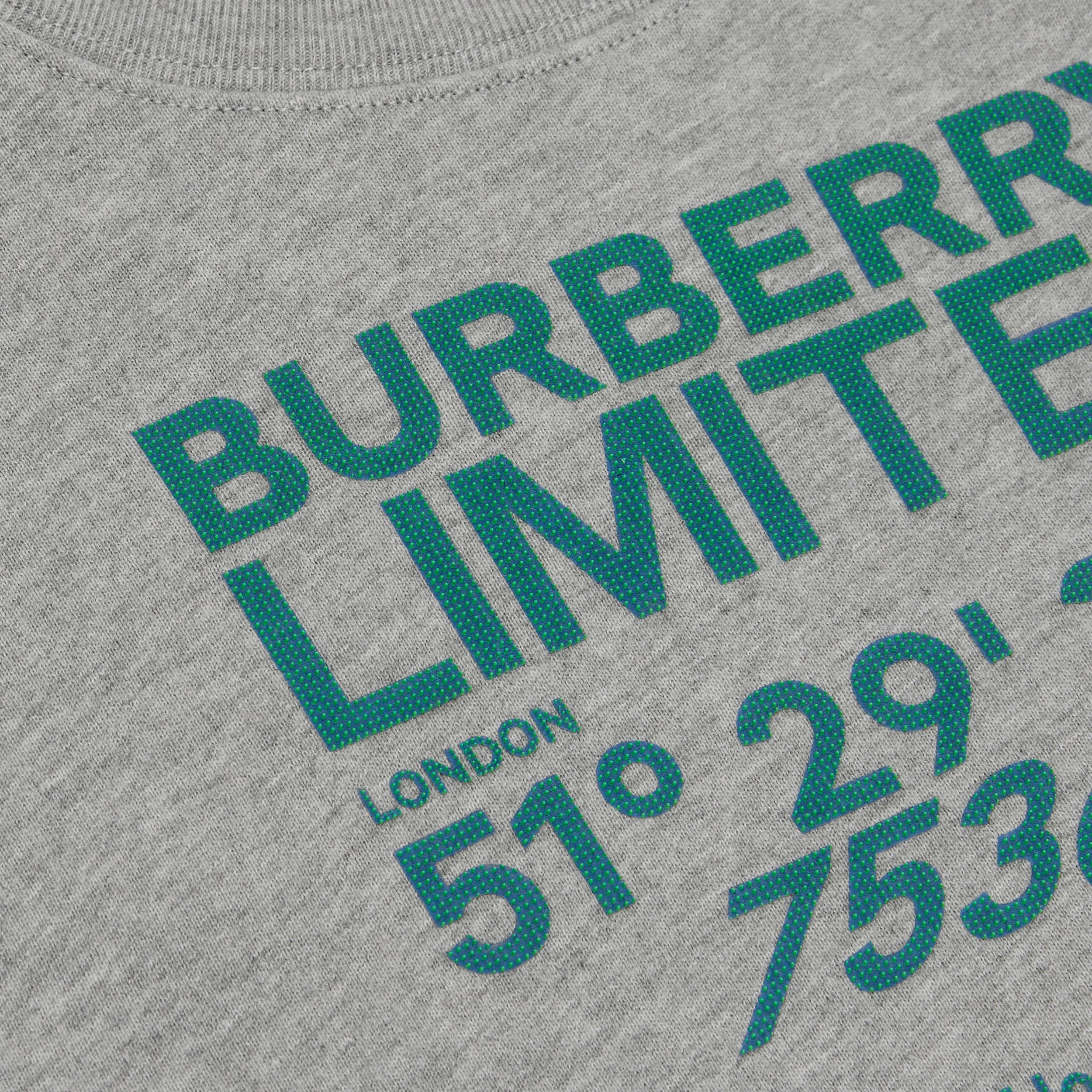 Coordinates Print Cotton Sweatshirt in Grey Melange | Burberry - 2