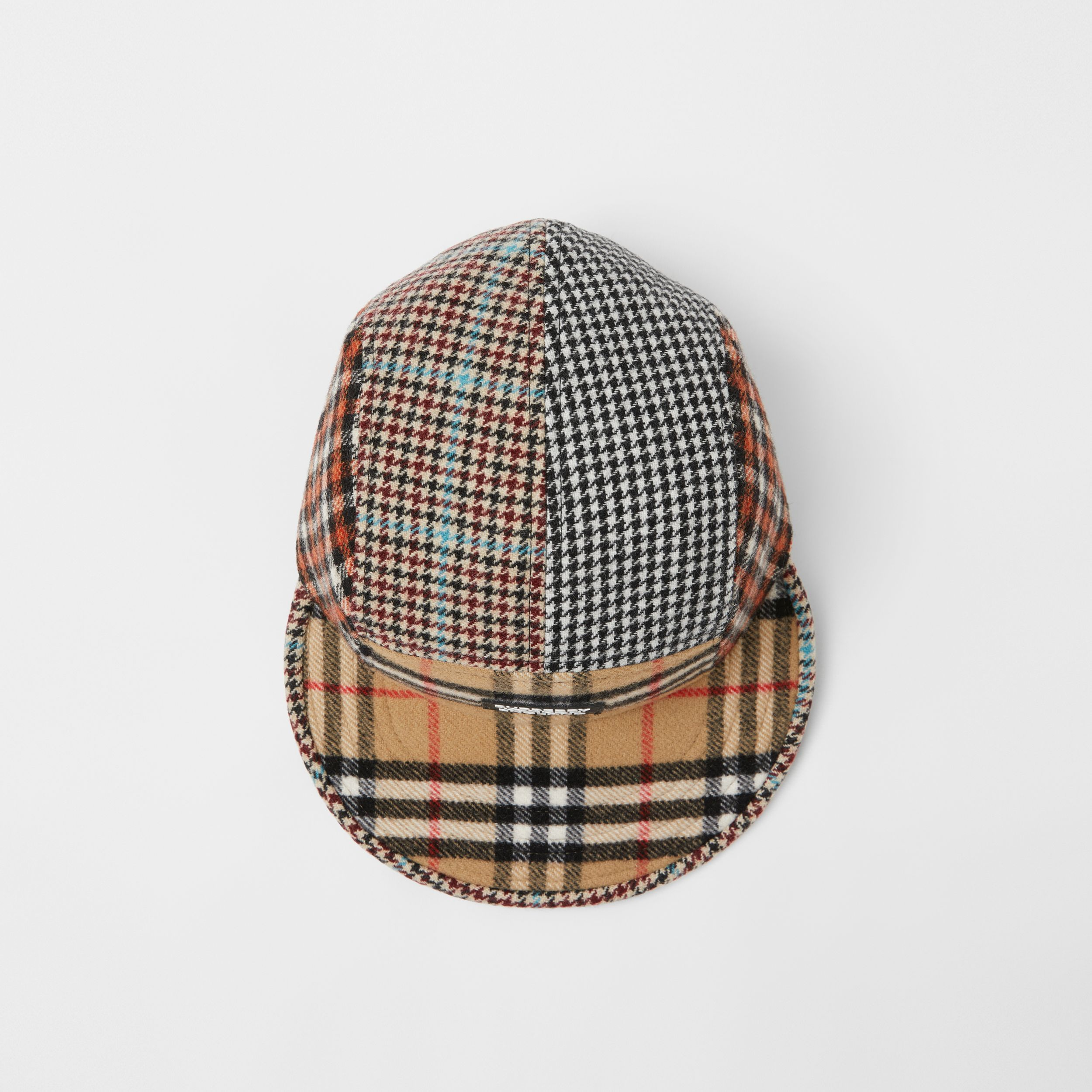 Patchwork Check Technical Wool Cap in Archive Beige - Children | Burberry - 3
