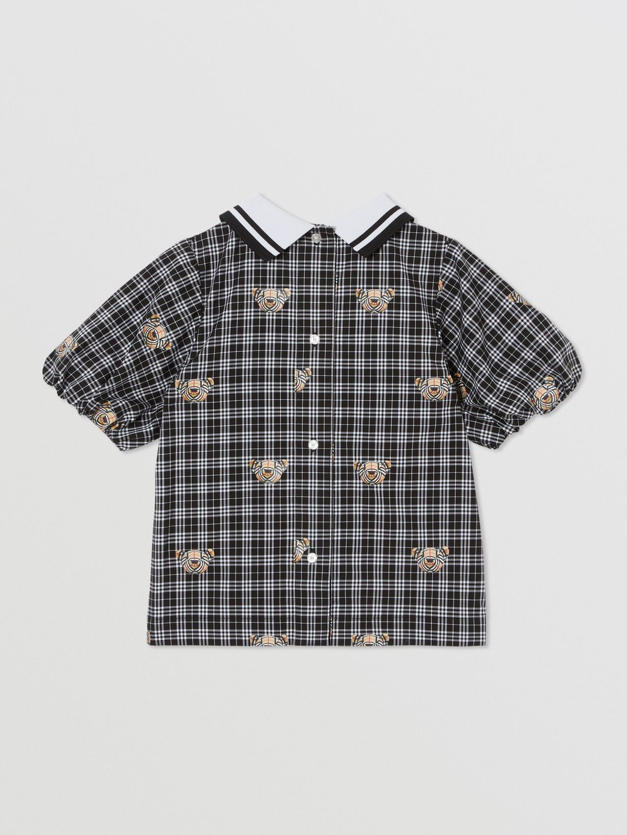 Puff-sleeve Thomas Bear Print Check Cotton Blouse in Black