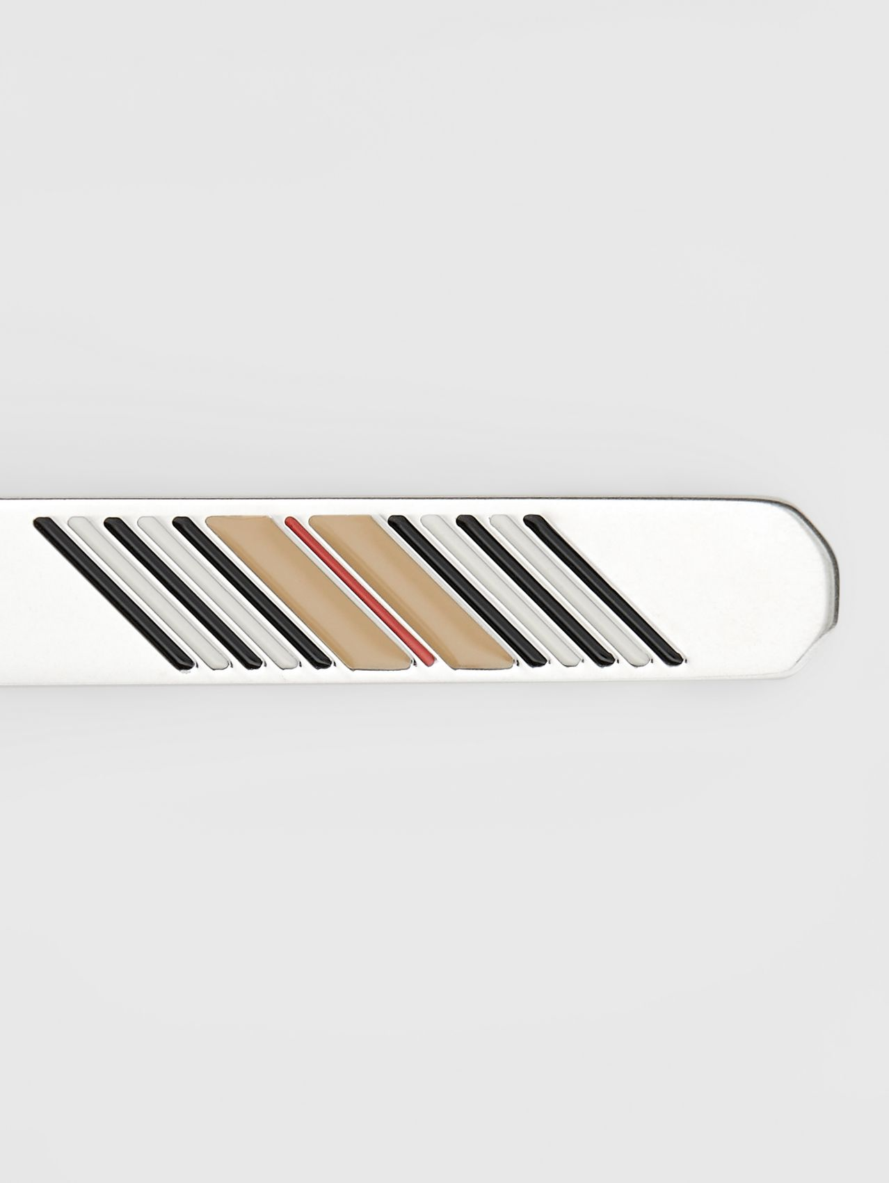 Icon Stripe Detail Palladium-plated Tie Bar