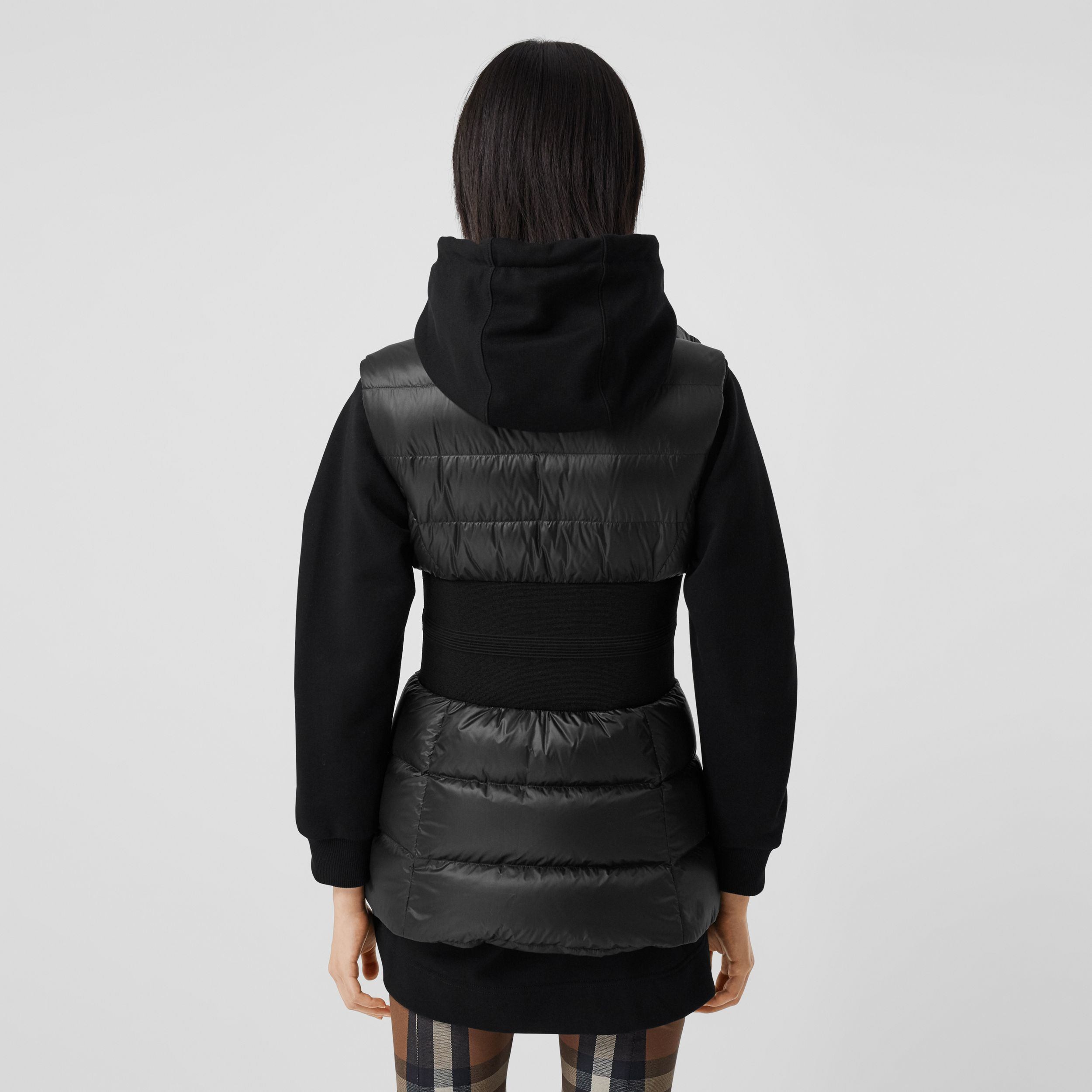Rib Knit Panel ECONYL® Puffer Gilet in Black - Women | Burberry - 3
