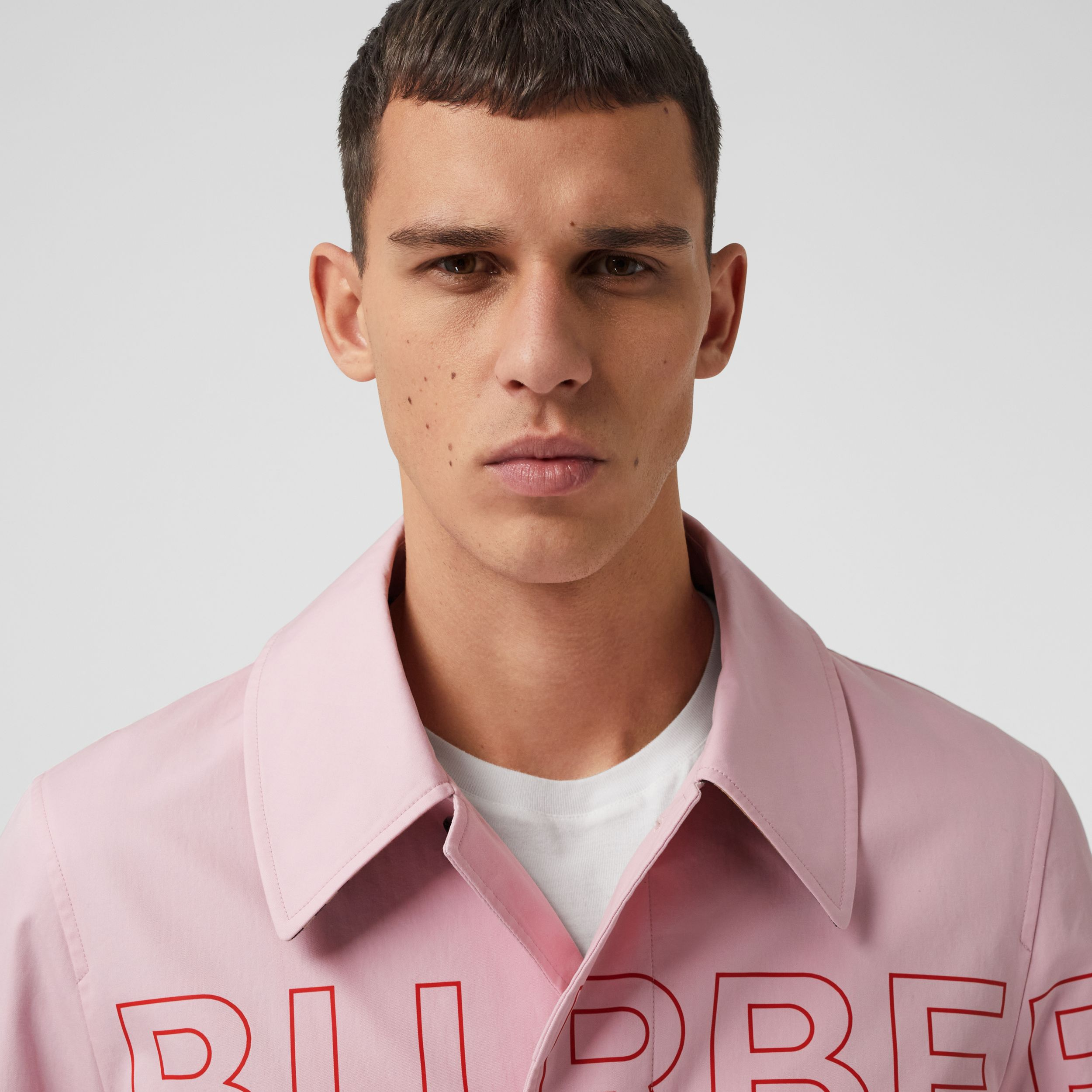 Horseferry Print Cotton Gabardine Car Coat in Light Pink - Men | Burberry - 2