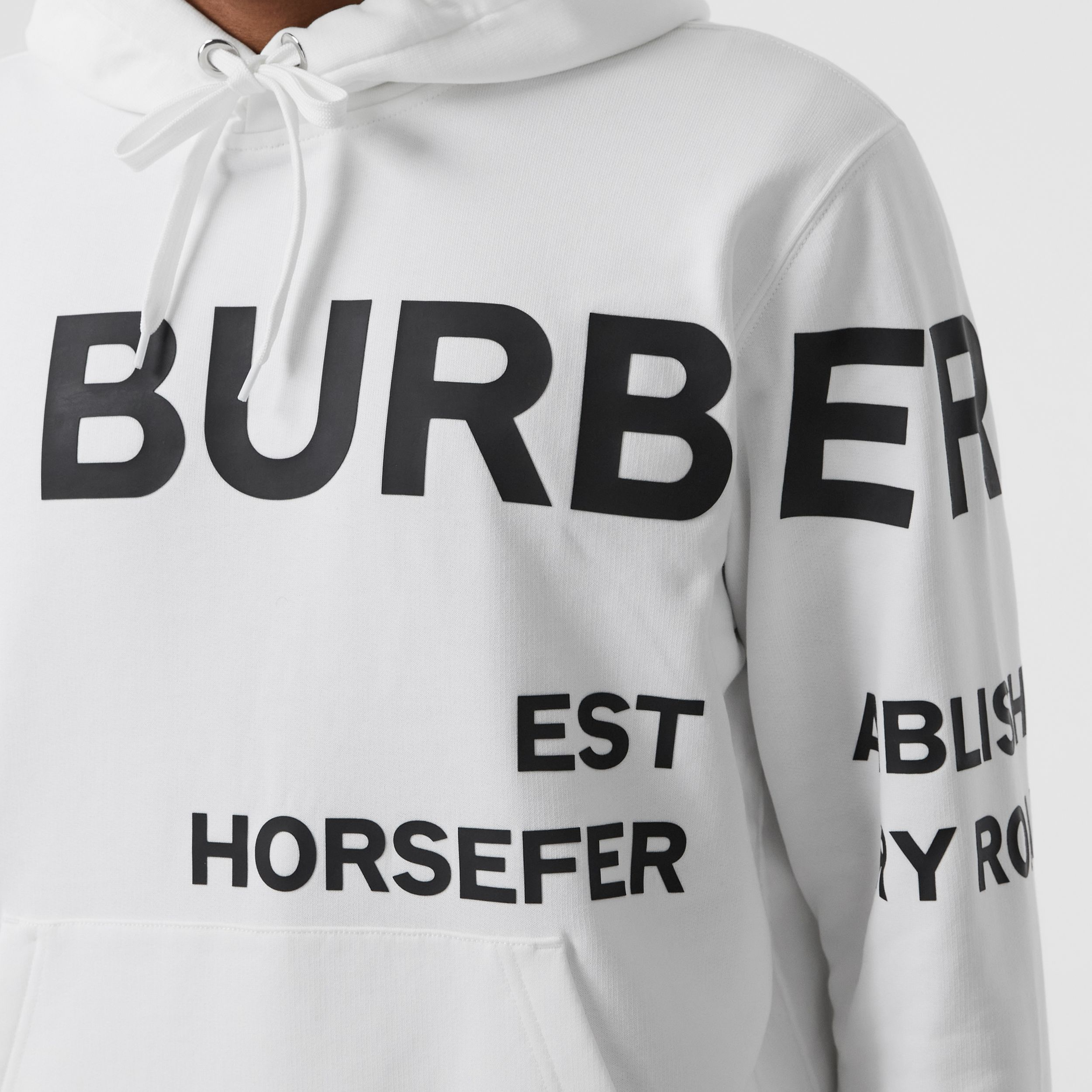 Horseferry Print Cotton Hoodie in White - Men | Burberry - 2