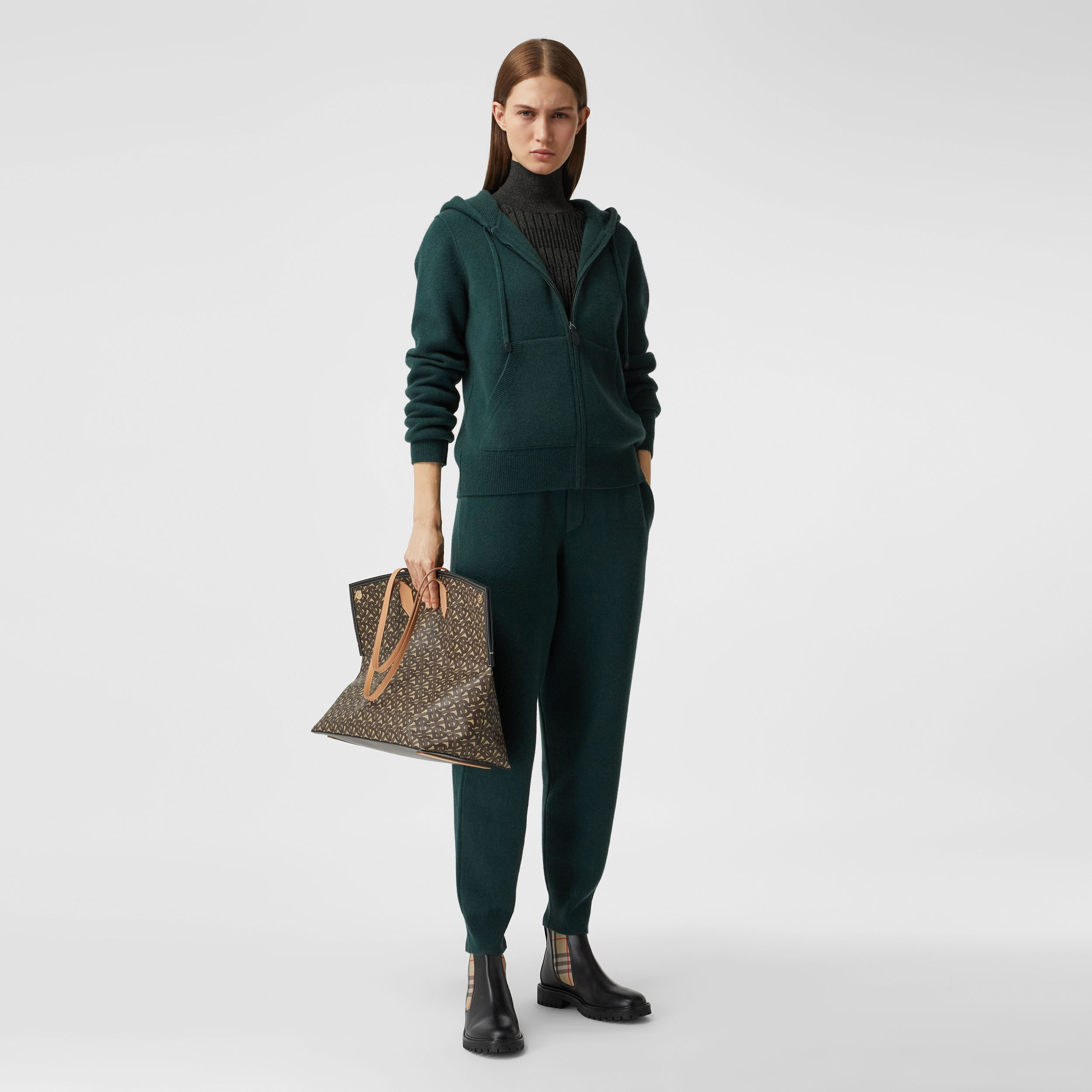 Monogram Motif Cashmere Blend Jogging Pants in Bottle Green - Women | Burberry Hong Kong S.A.R. - 1