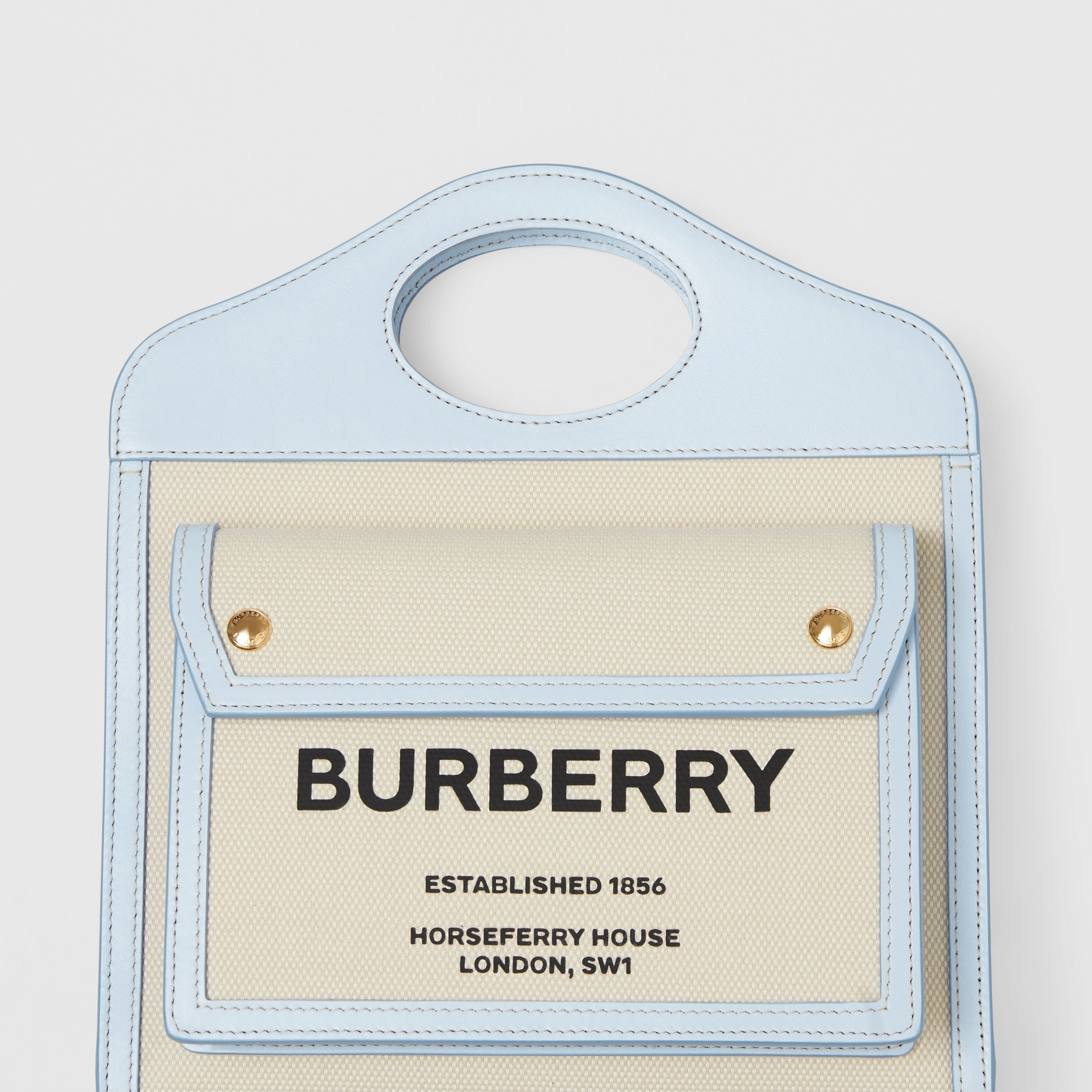 Mini Two-tone Canvas and Leather Pocket Bag in Natural/pale Blue - Women | Burberry - 2