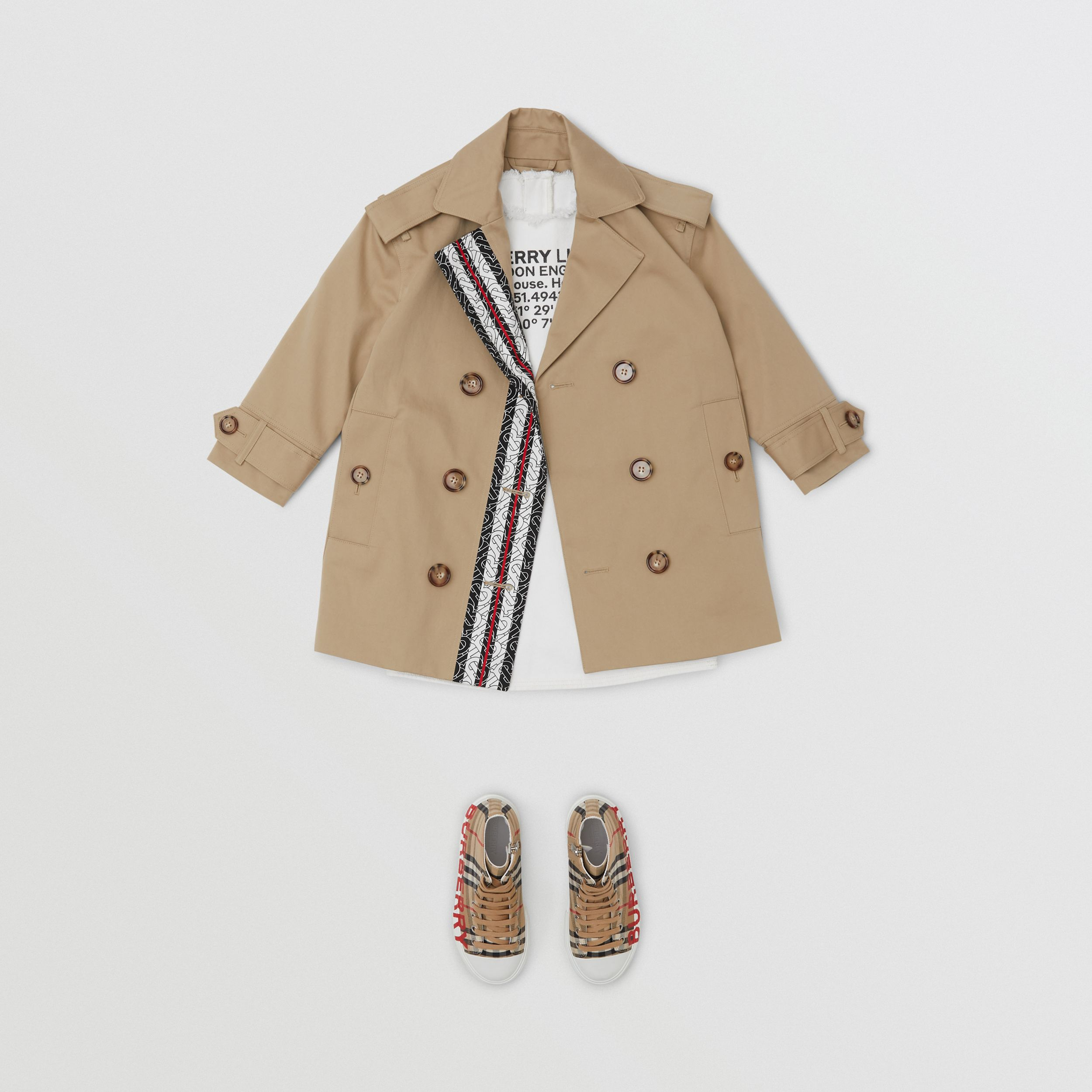 Monogram Stripe Print Cotton Trench Coat in Honey | Burberry - 4