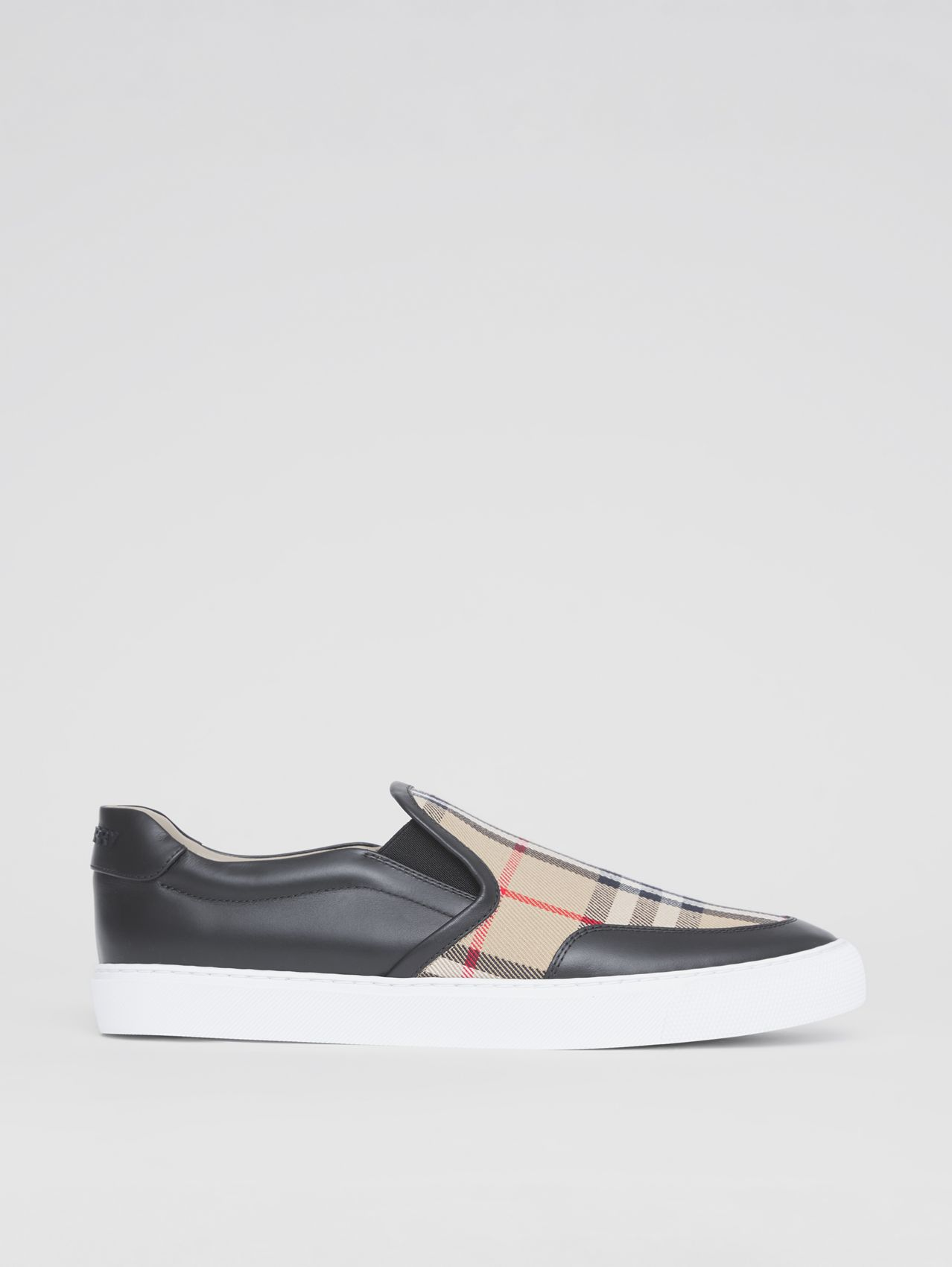 Leather and Vintage Check Slip-on Sneakers in Black