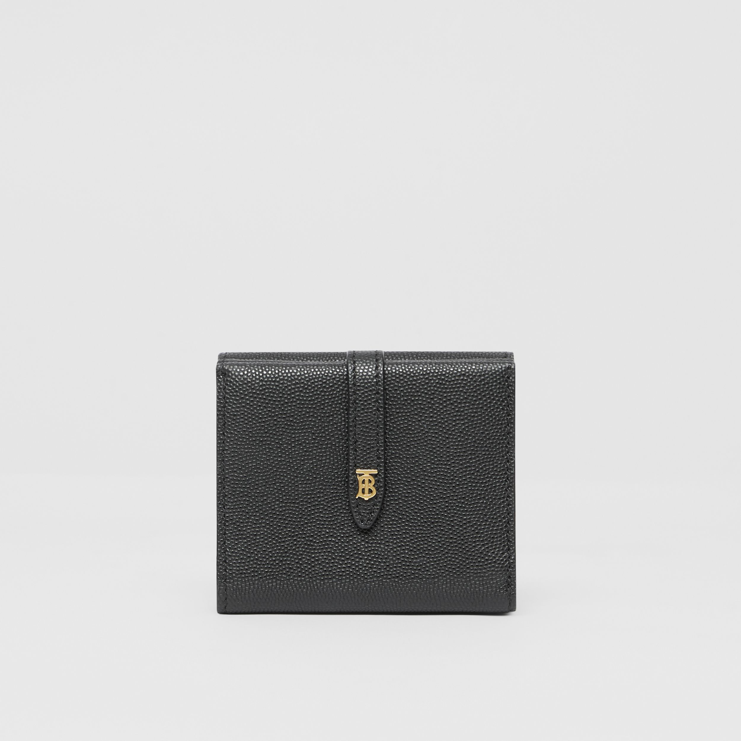 Monogram Motif Grainy Leather Folding Wallet in Black - Women | Burberry - 4
