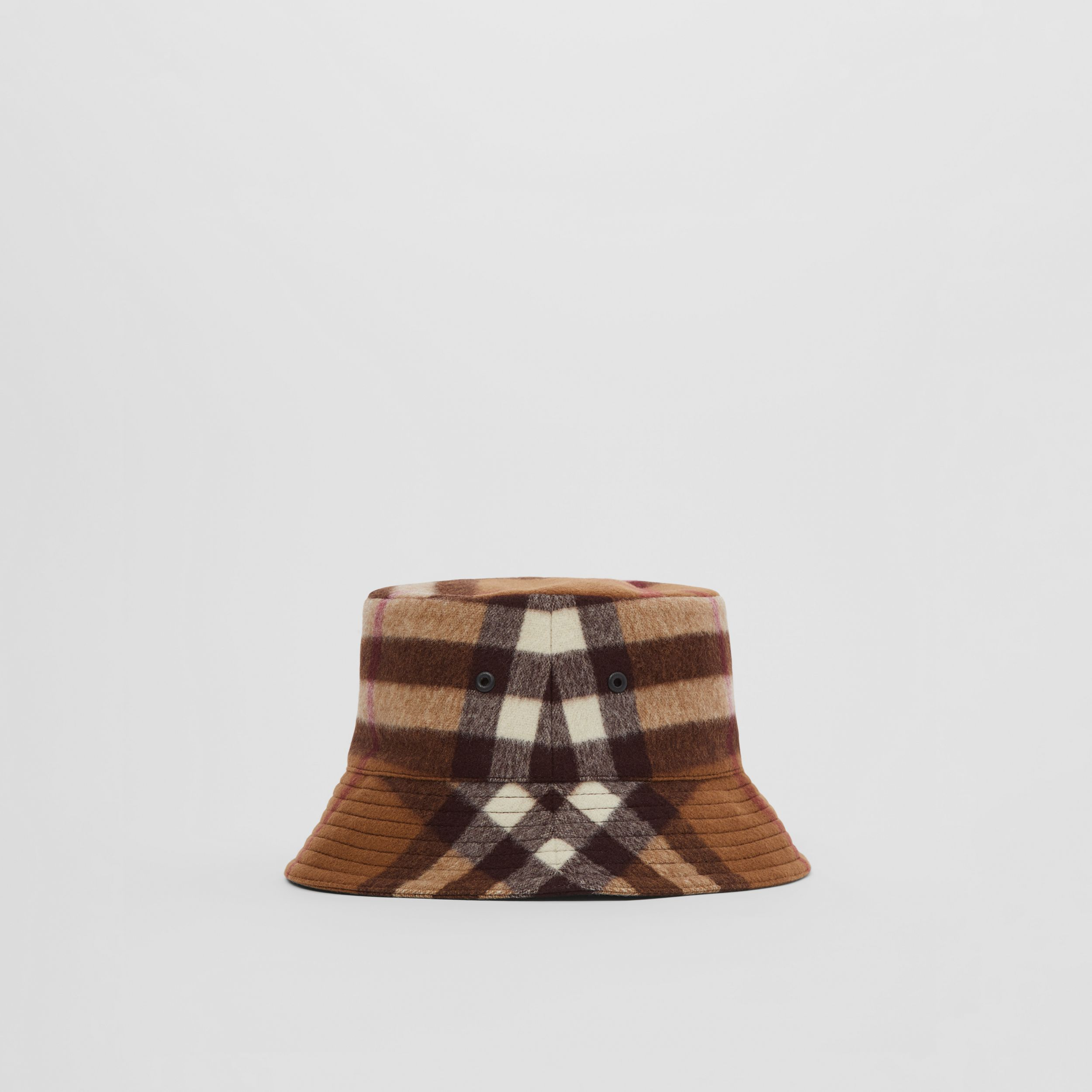 Check Wool Bucket Hat in Birch Brown | Burberry - 1