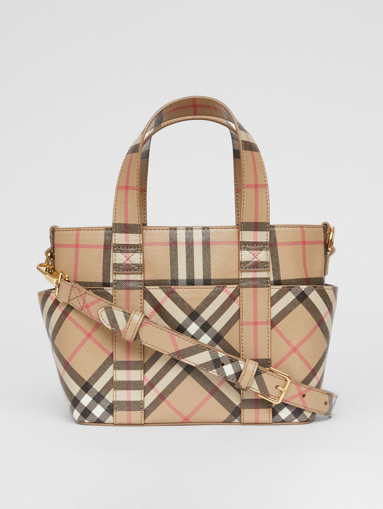 Logo Appliqué Vintage Check E-canvas Tote in Archive Beige