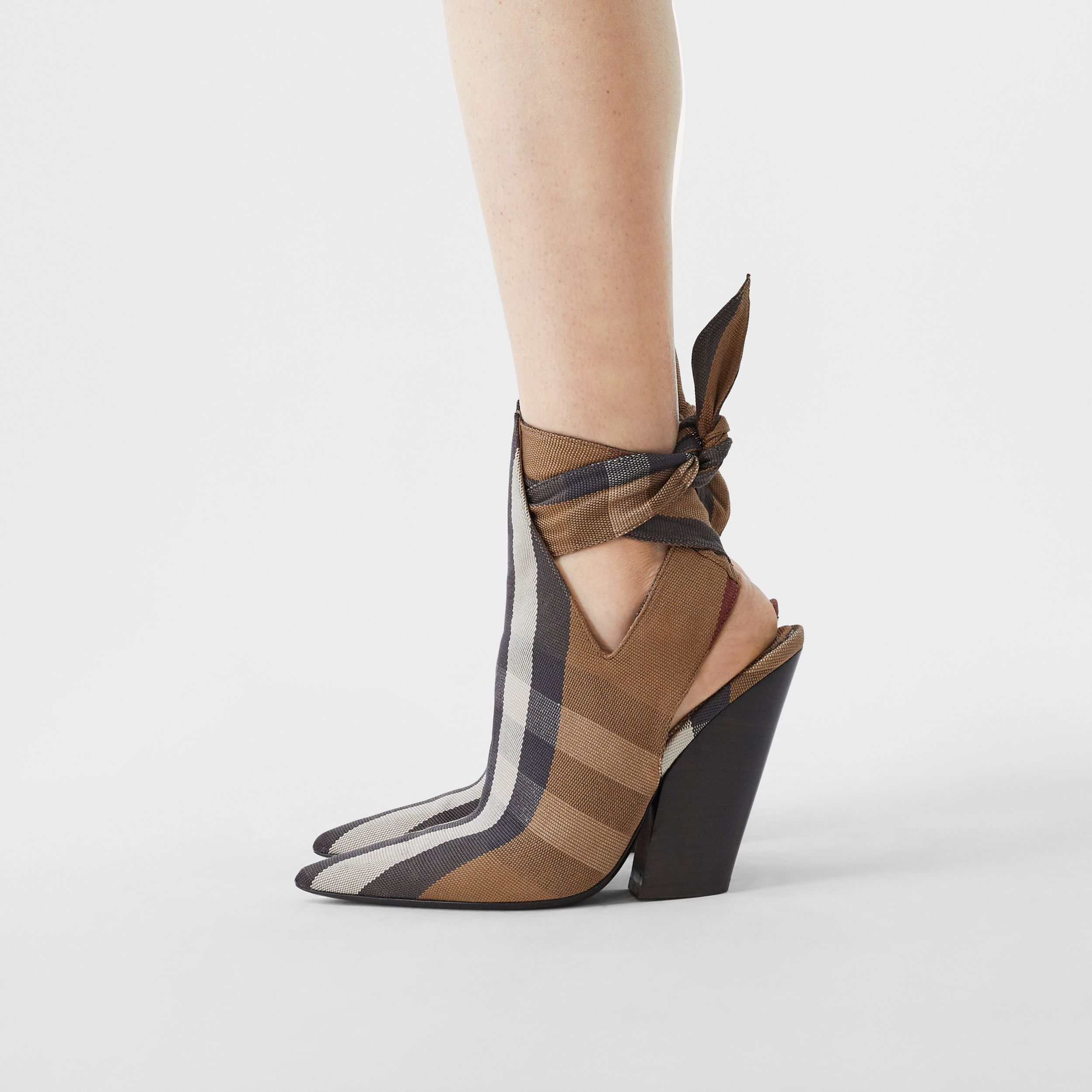 Tie Detail Check Technical Cotton Point-toe Mules in Birch Brown - Women | Burberry - 3