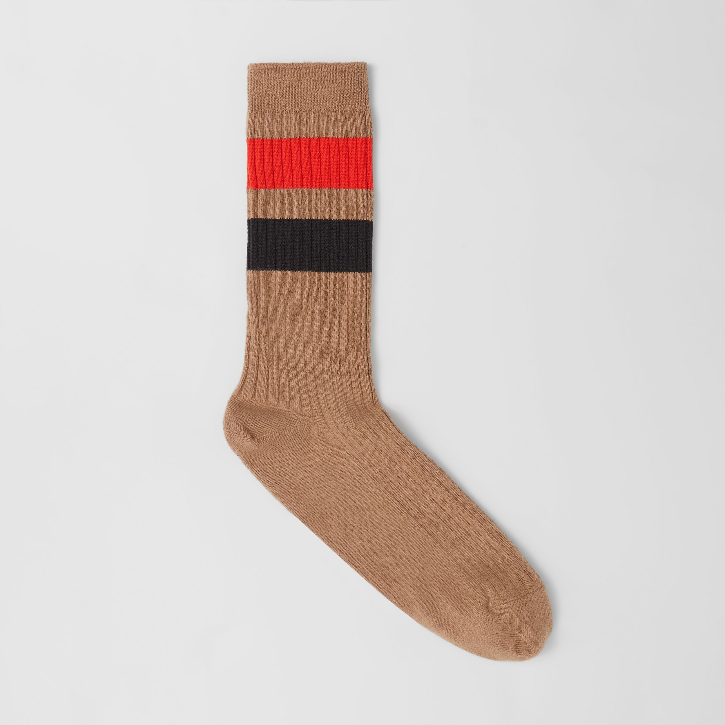 Striped Cotton Blend Socks in Warm Camel | Burberry - 1