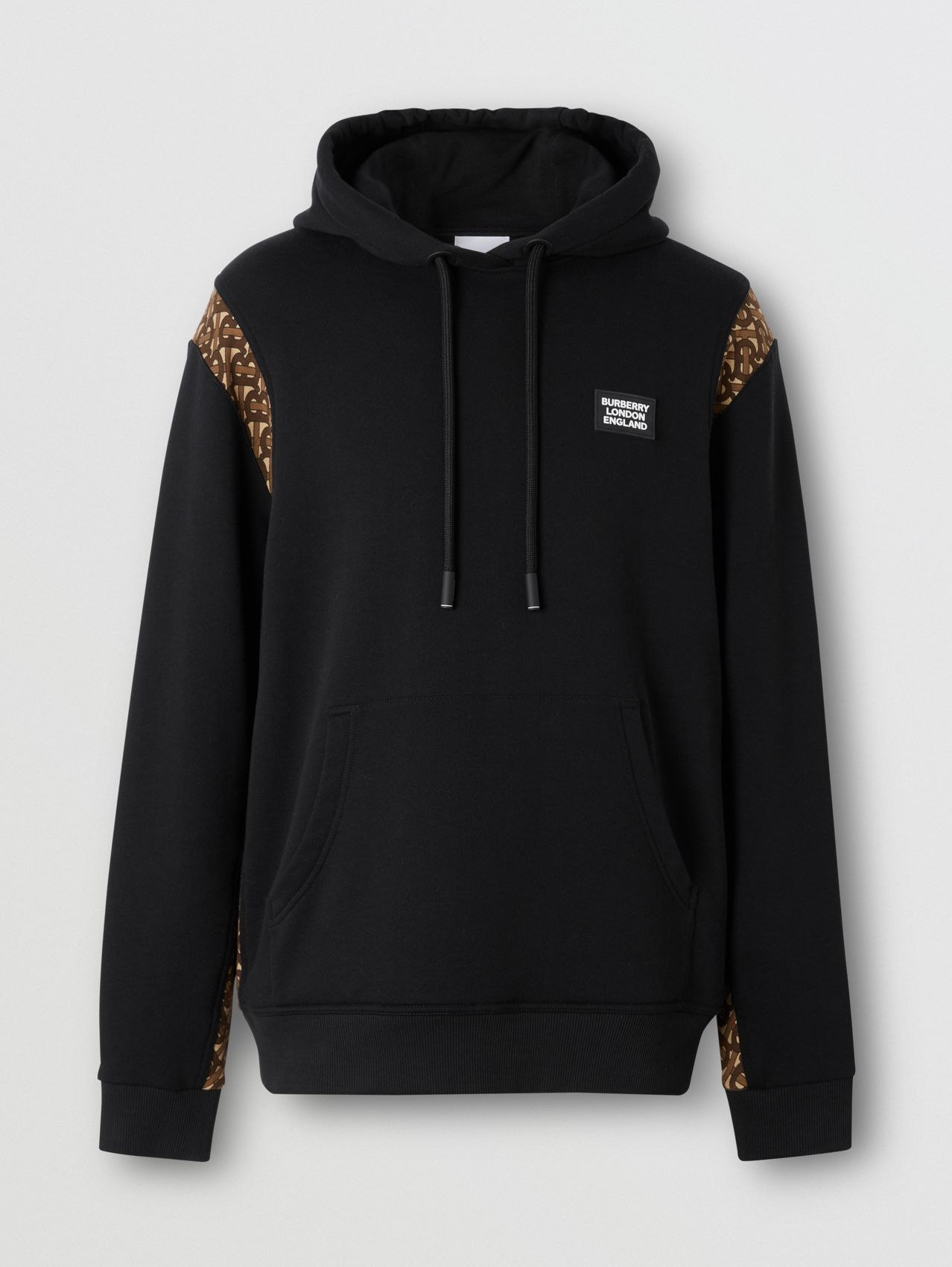 Monogram Print Panel Cotton Hoodie in Black