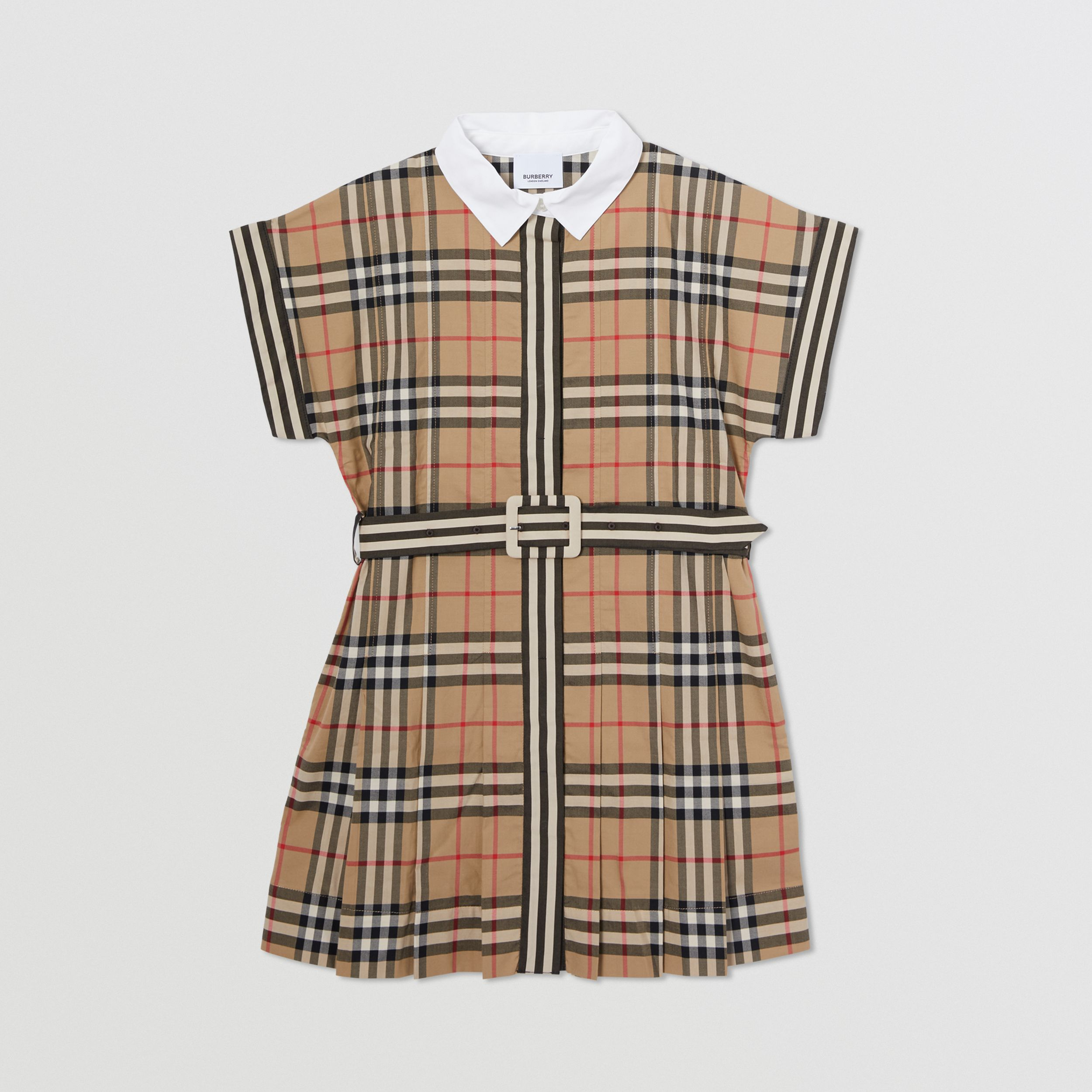 Contrast Collar Vintage Check Cotton Dress in Archive Beige | Burberry - 1
