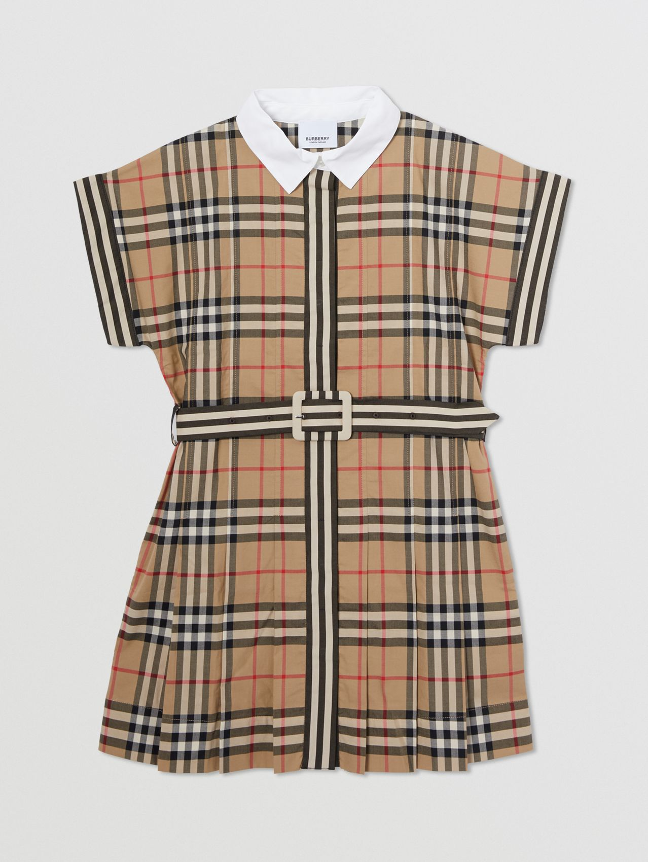 Contrast Collar Vintage Check Cotton Dress in Archive Beige