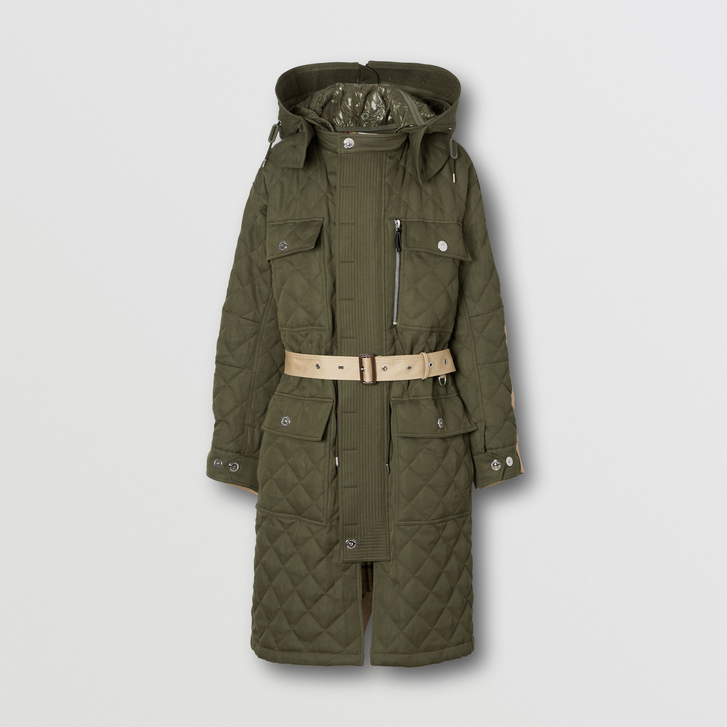 Detachable Hood Quilted Ramie Cotton Parka in Olive Green | Burberry - 4