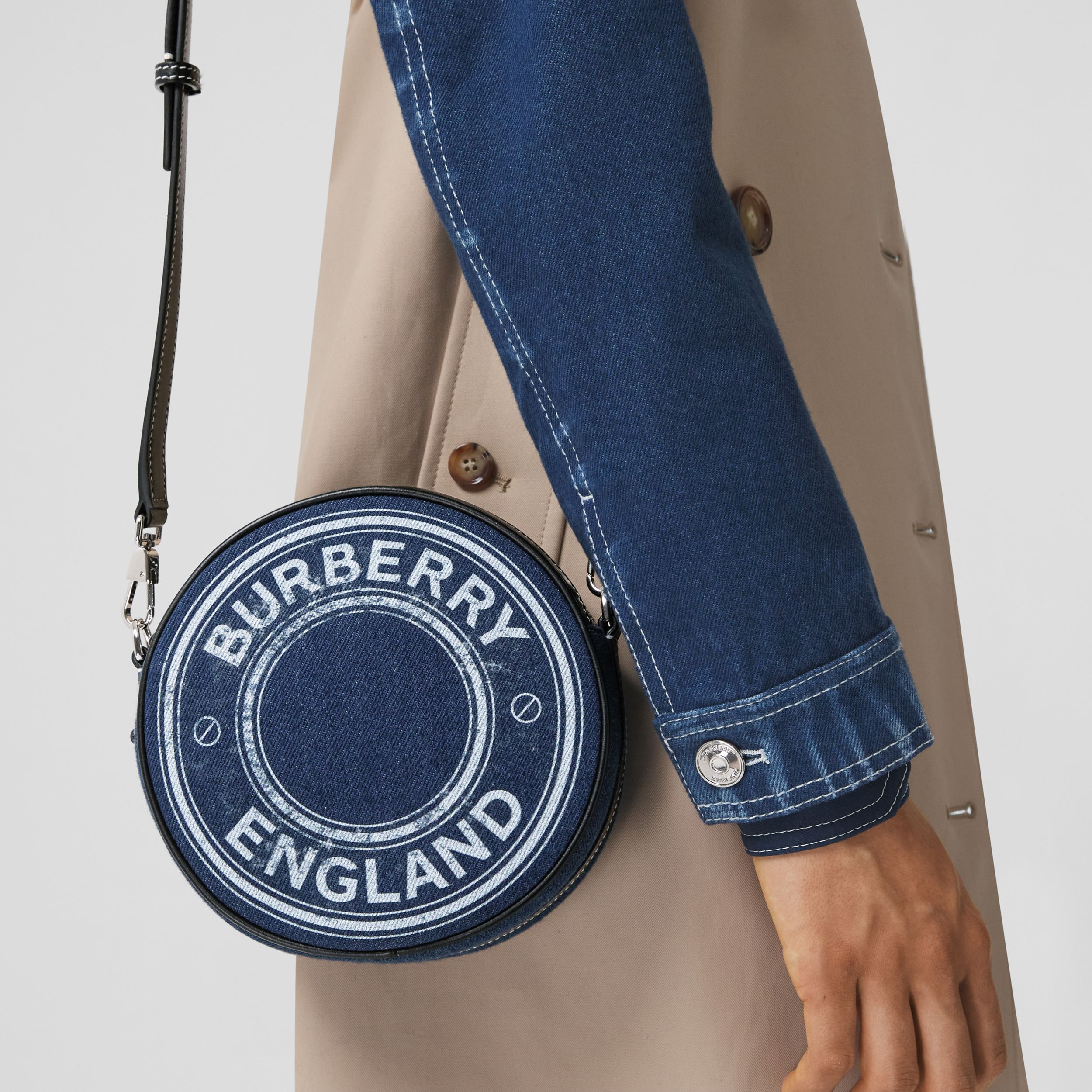 Logo Graphic Denim and Leather Louise Bag in Dark Canvas Blue - Women | Burberry - 3