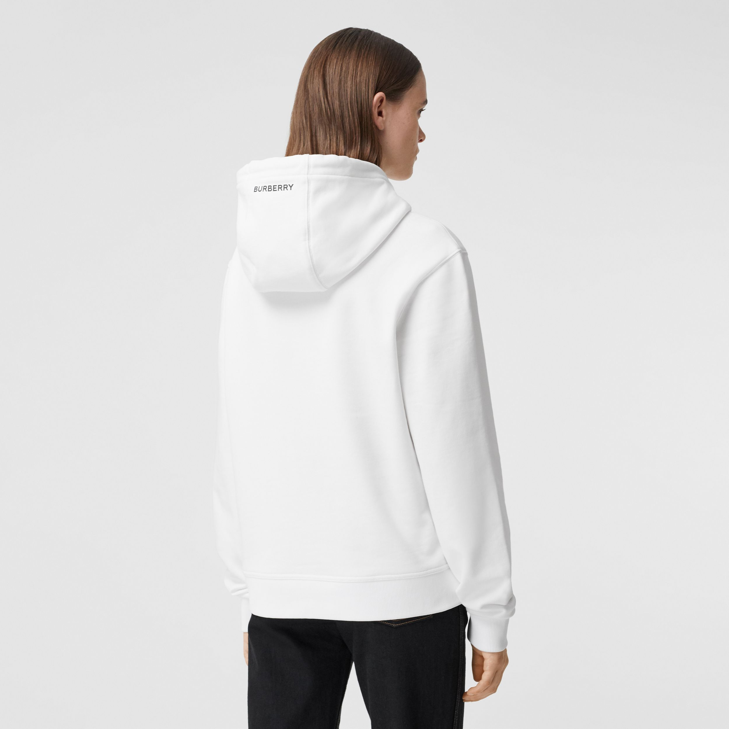 Slogan Print Cotton Oversized Hoodie in White - Women | Burberry Canada - 3